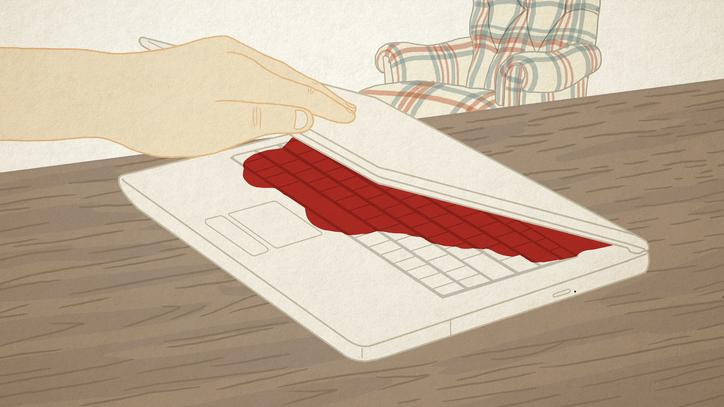 Illustration: a hand closes a laptop