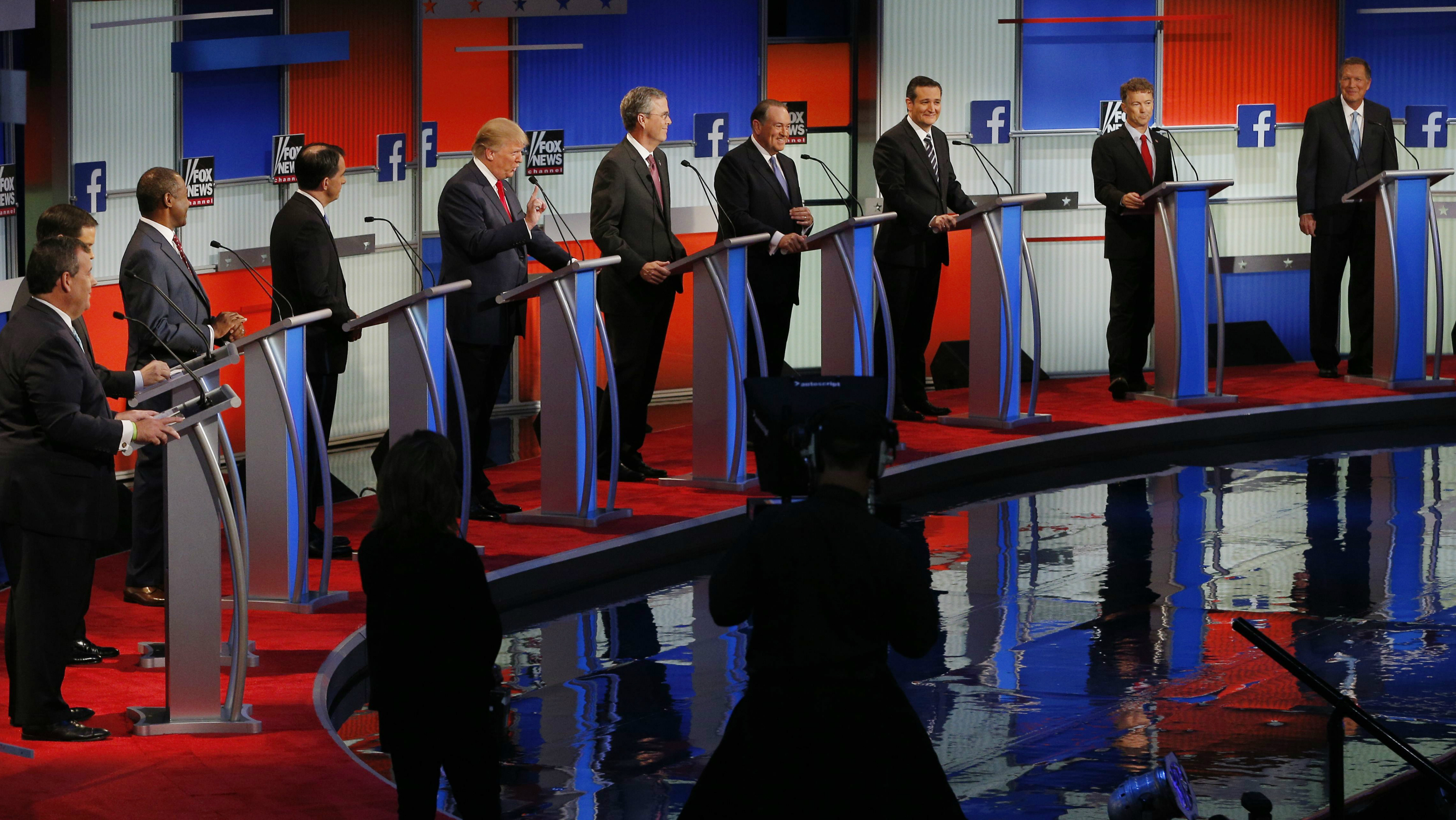 The first official Republican presidential candidates debate of the 2016 U.S. presidential campaign in Cleveland, Ohio, August 6, 2015.