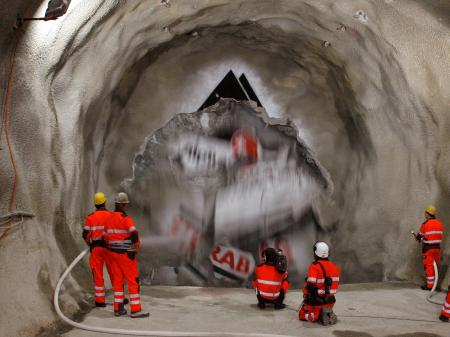 Miners in gotthard tunnel