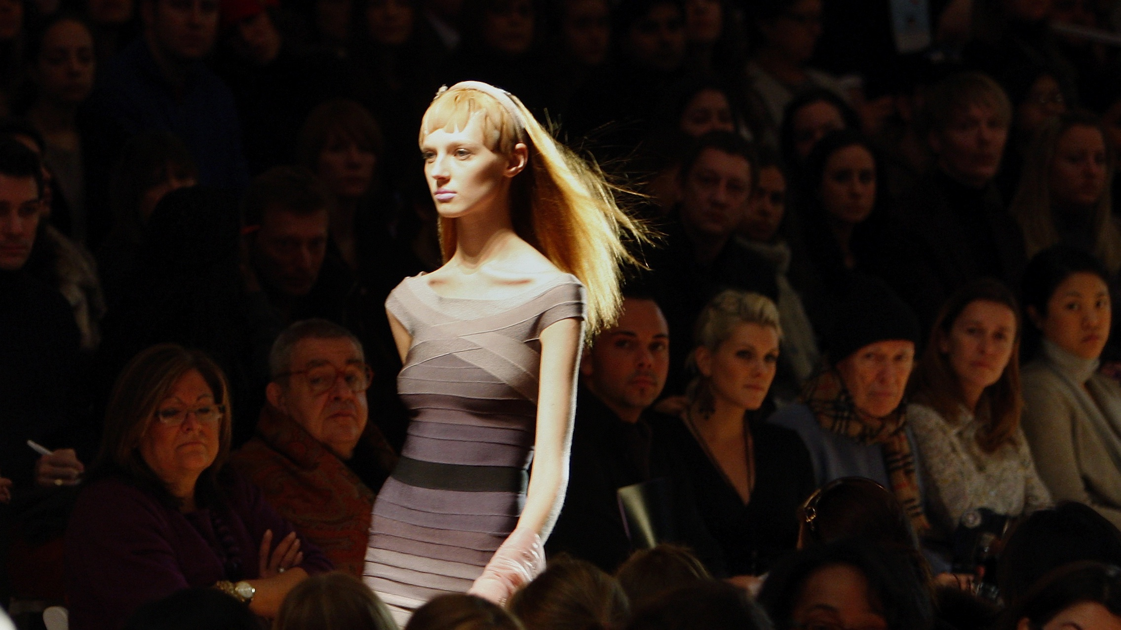 A model presents a creation from the Herve Leger 2008/2009 fall collection during New York Fashion Week February 3, 2008.