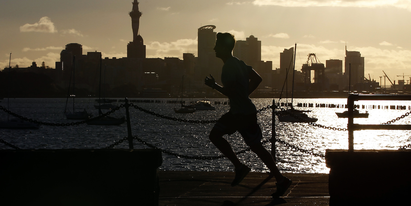 A jogger runs along the seawall in Auckland