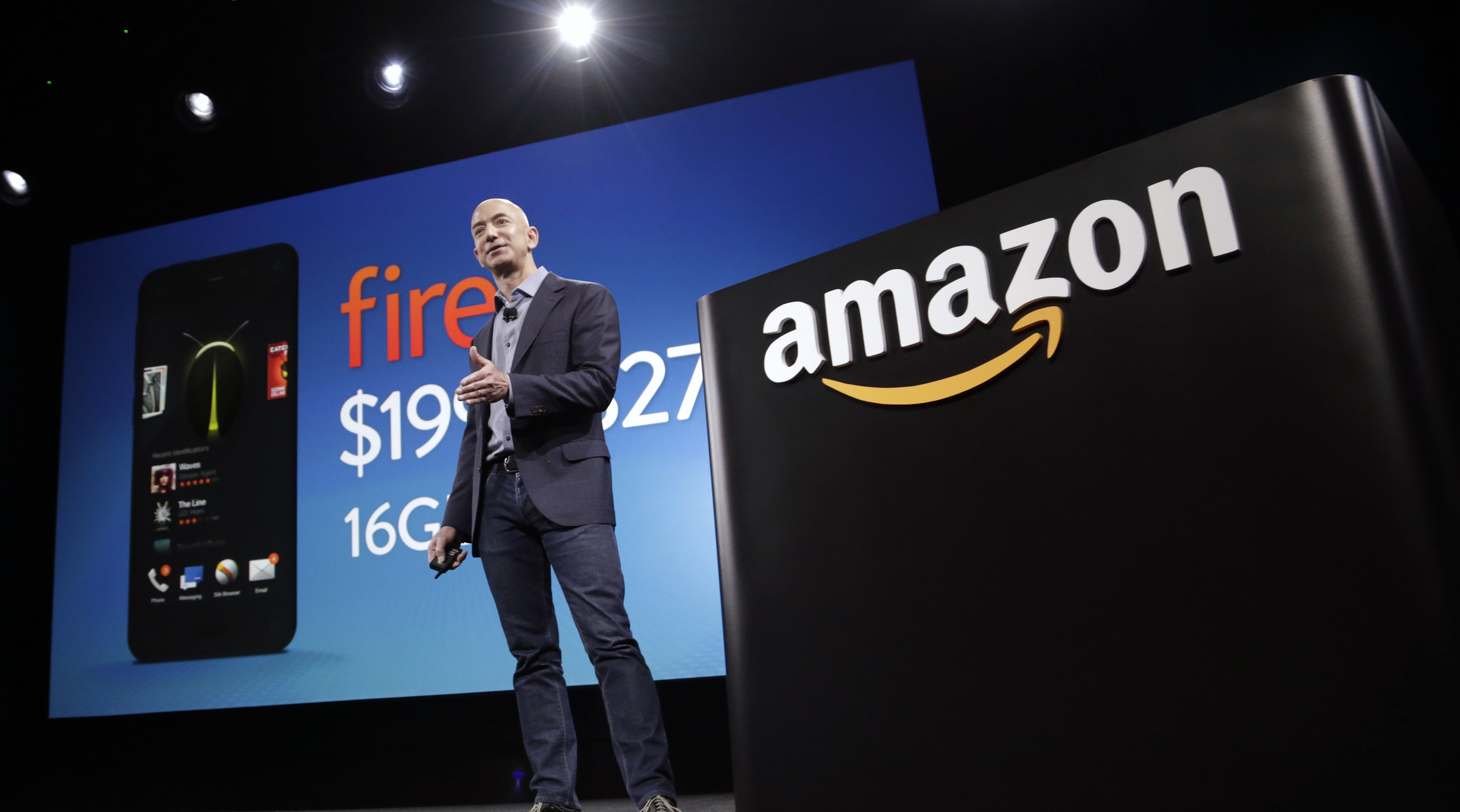 Amazon CEO Bezos talks about his company's new Fire smartphone at a news conference in Seattle, Washington