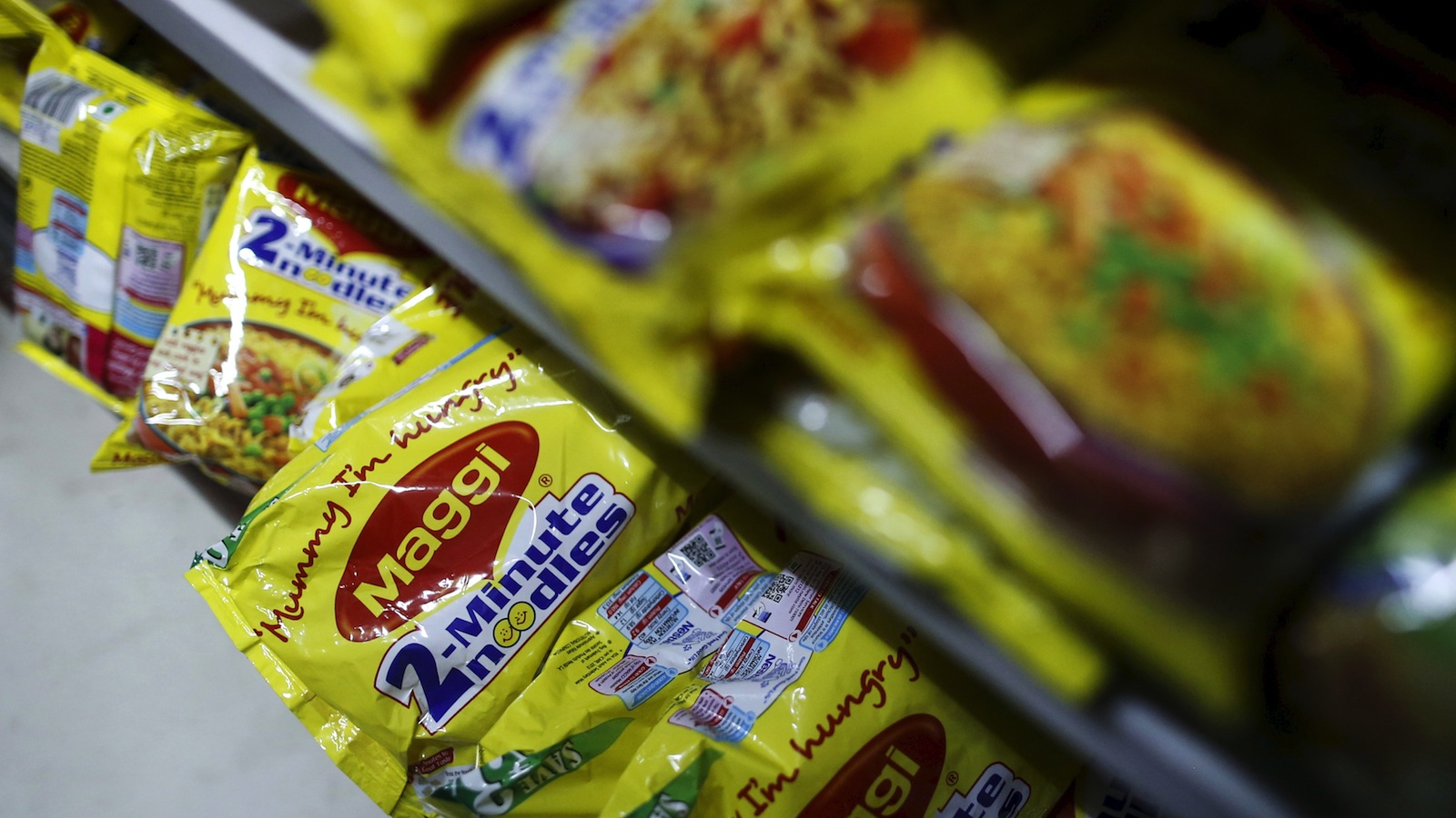 Packets of Nestle's Maggi instant noodles are seen on display at a grocery store in Mumbai, India, June 3, 2015. India's food minister on Wednesday ordered safety checks on Nestle India's Maggi instant noodles after regional food inspectors said the test batches of the popular snack were found to contain dangerous levels of lead.