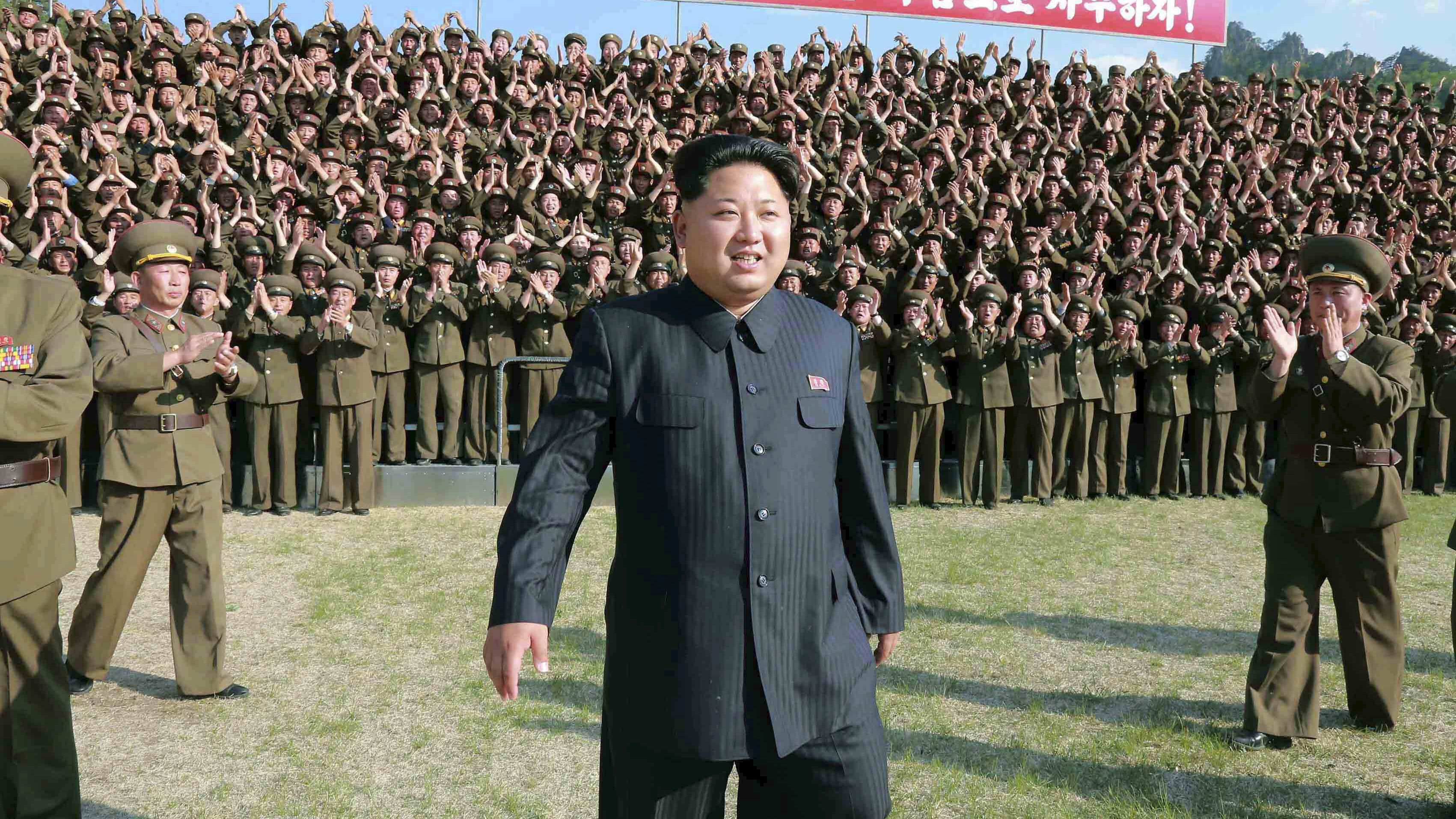 North Korean leader Kim Jong Un makes an inspection at the commanding headquarters of the 264 Combined Forces, in this undated photo released by North Korea's Korean Central News Agency (KCNA) in Pyongyang on May 24, 2015.
