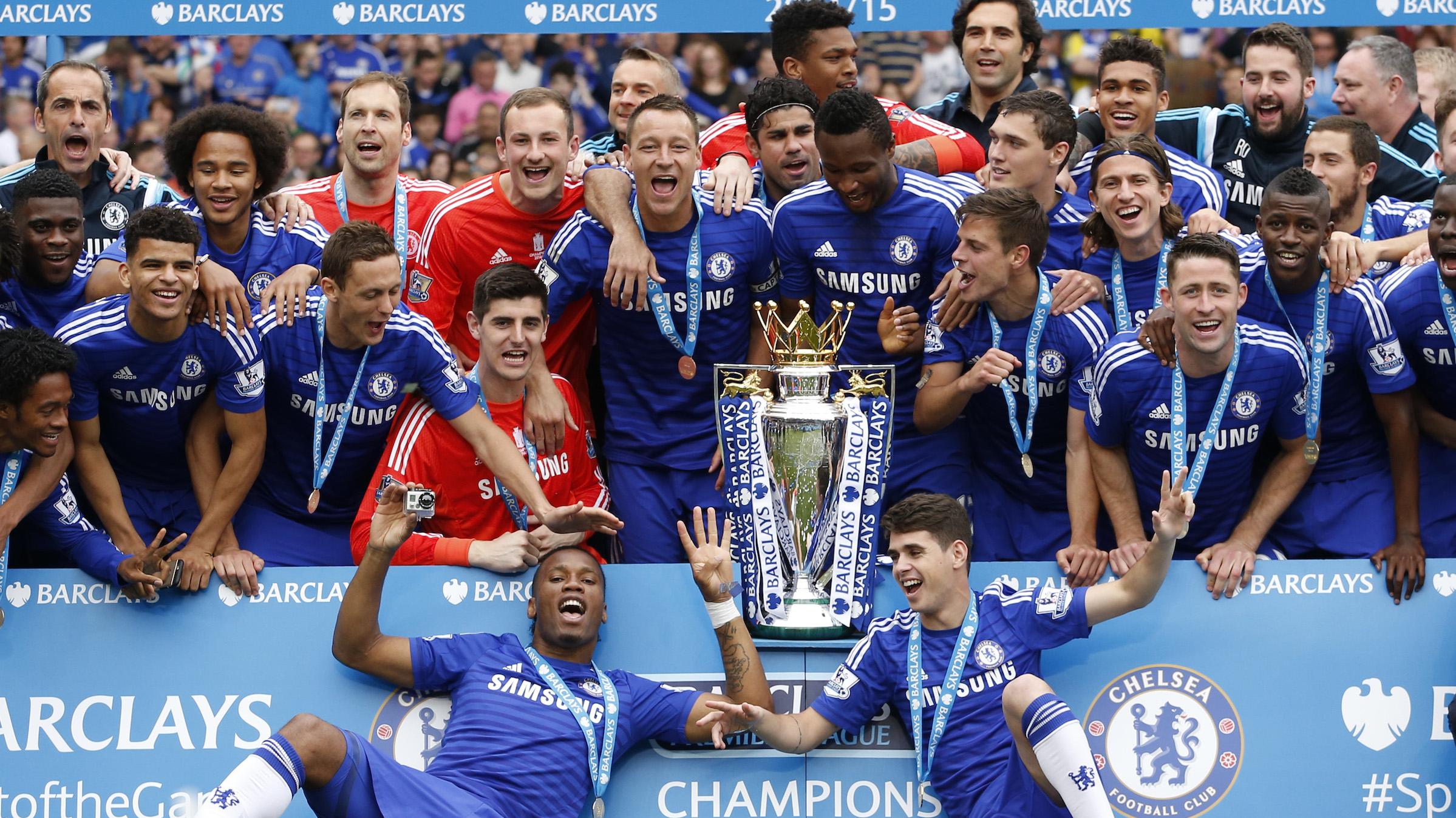 Chelsea celebrates winning Barclays Premier League.