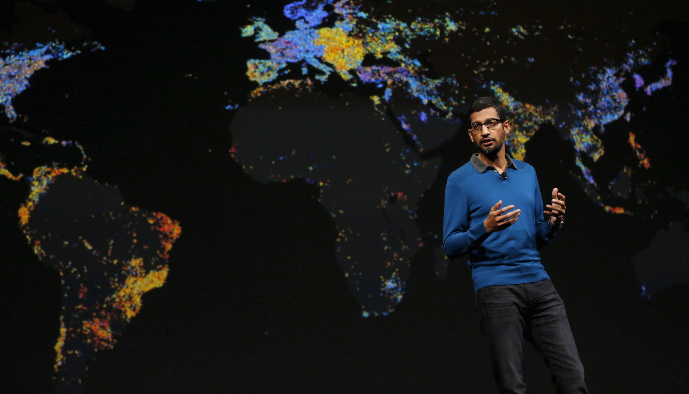Sundar Pichai, Senior Vice President for products, delivers his keynote address during the Google I/O developers conference in San Francisco, California May 28, 2015. REUTERS/Robert Galbraith - RTX1EZC0