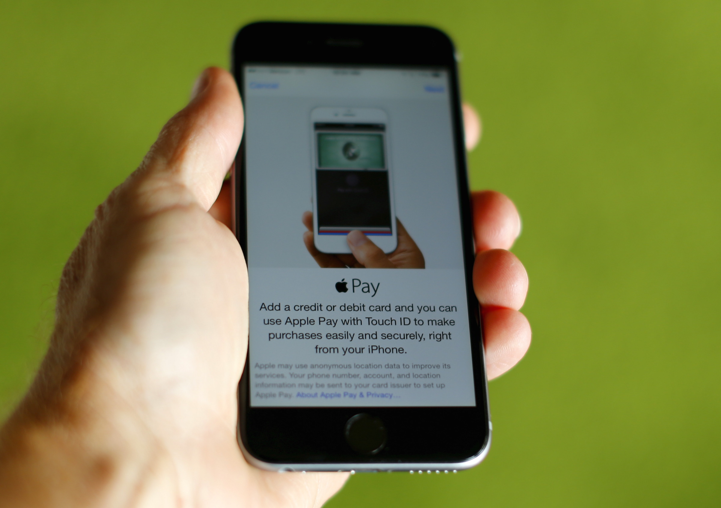 An Apple iphone 6 with Apple Pay is shown in this photo illustration in Encinitas , California June 3, 2015. Interviews with analysts, merchants and others suggest that Apple's forecast may be too optimistic and that many retailers remain skeptical about the payment system. Photo taken June 3, 2015. To match story APPLE-PAY/ REUTERS/Mike Blake