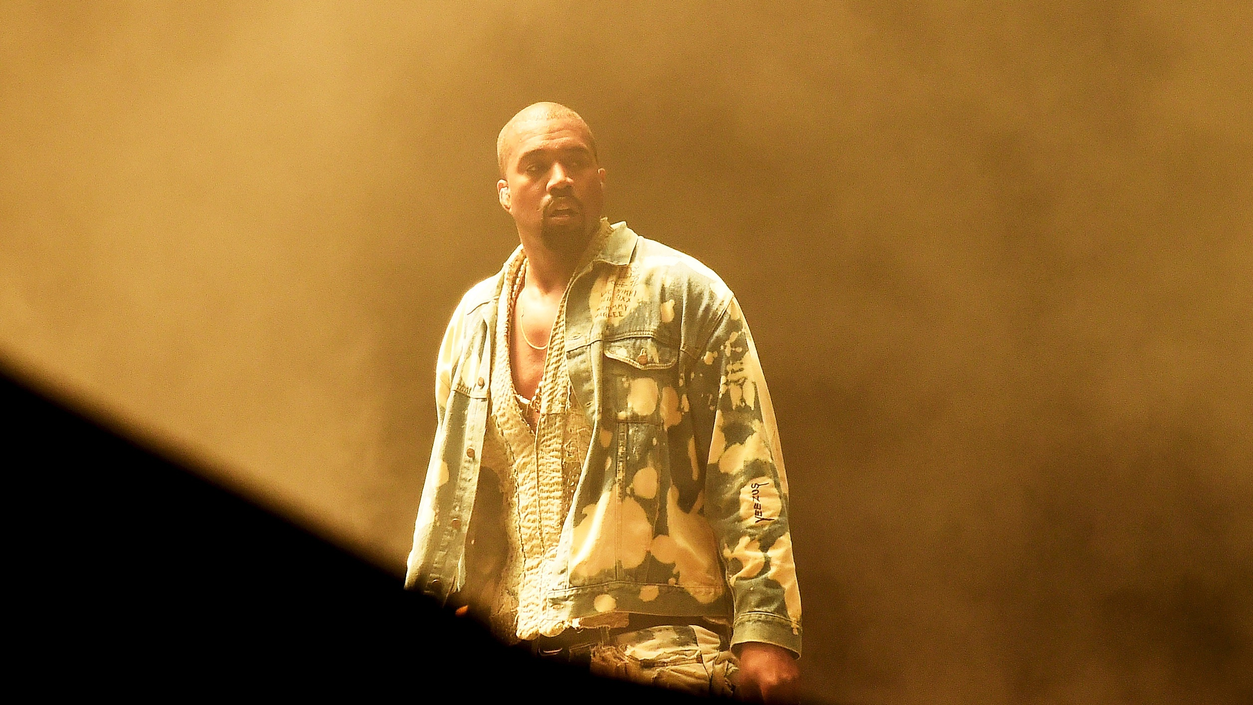 Kanye West performs on the Pyramid stage at Worthy Farm in Somerset during the Glastonbury Festival in Britain, June 27, 2015.