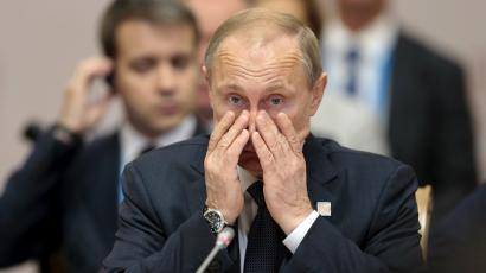 Russian President Vladimir Putin gestures during the BRICS Summit in Ufa, Russia, July 9, 2015.