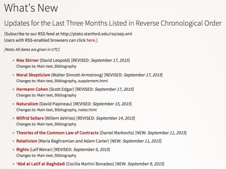 Screenshot of the SEP's What's New page