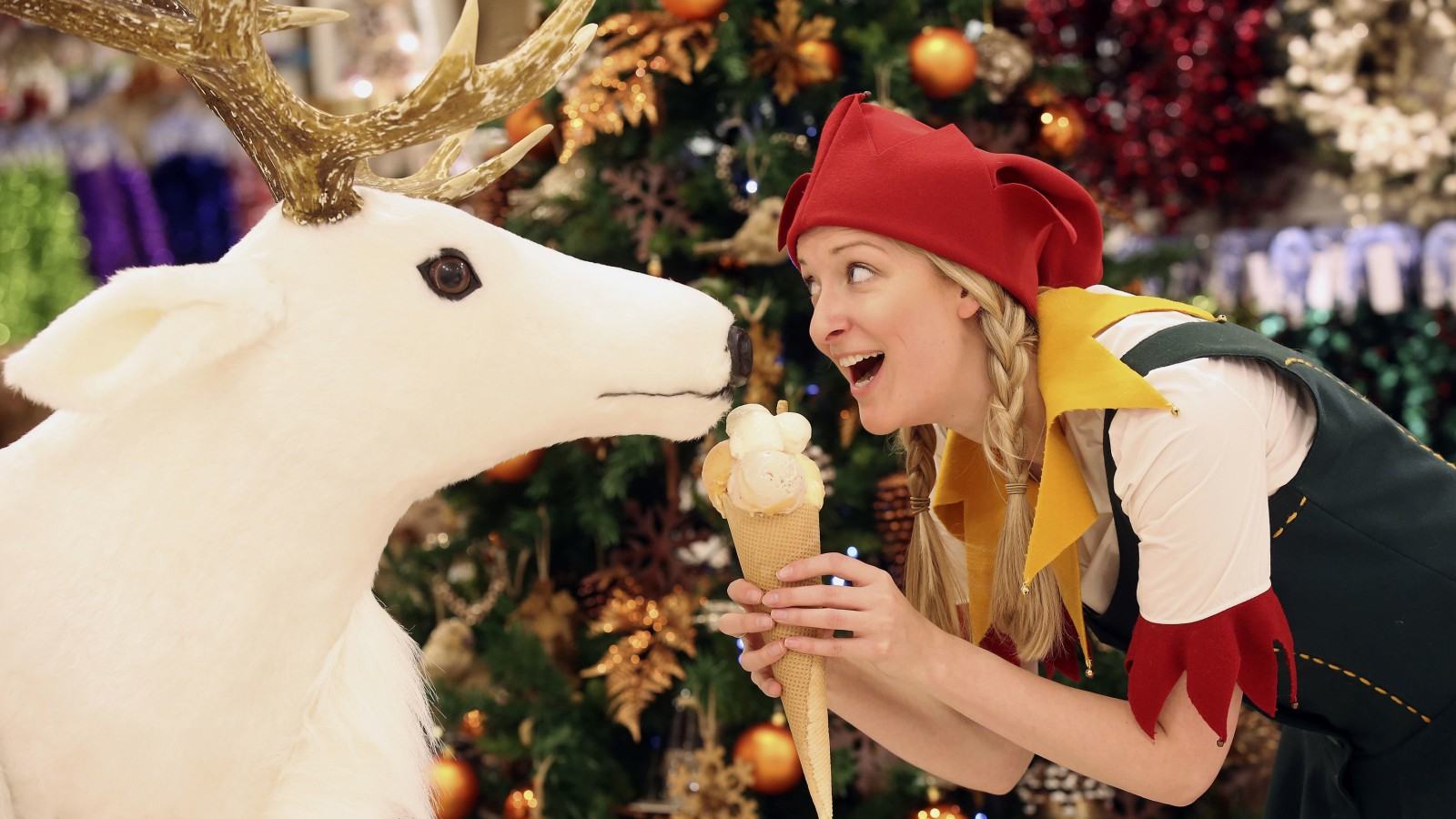An Elf poses for a photograph in Selfridges department store,Oxford street,London August 3, 2015. Selfridges is the first department store in the world to launch its Christmas Shop today.   Picture by Paul Hackett.  07779 340110     For more information on the story contact Bruno on 0207 318 3204 or Jillian on 0207 318 3987  This picture is free.