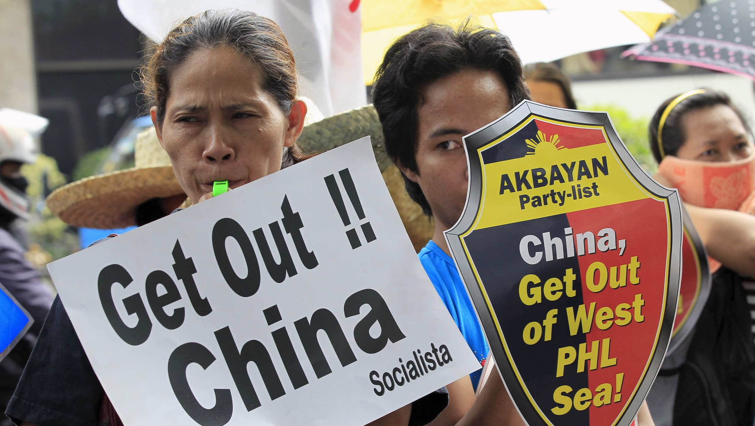 Protesters against South China sea projects