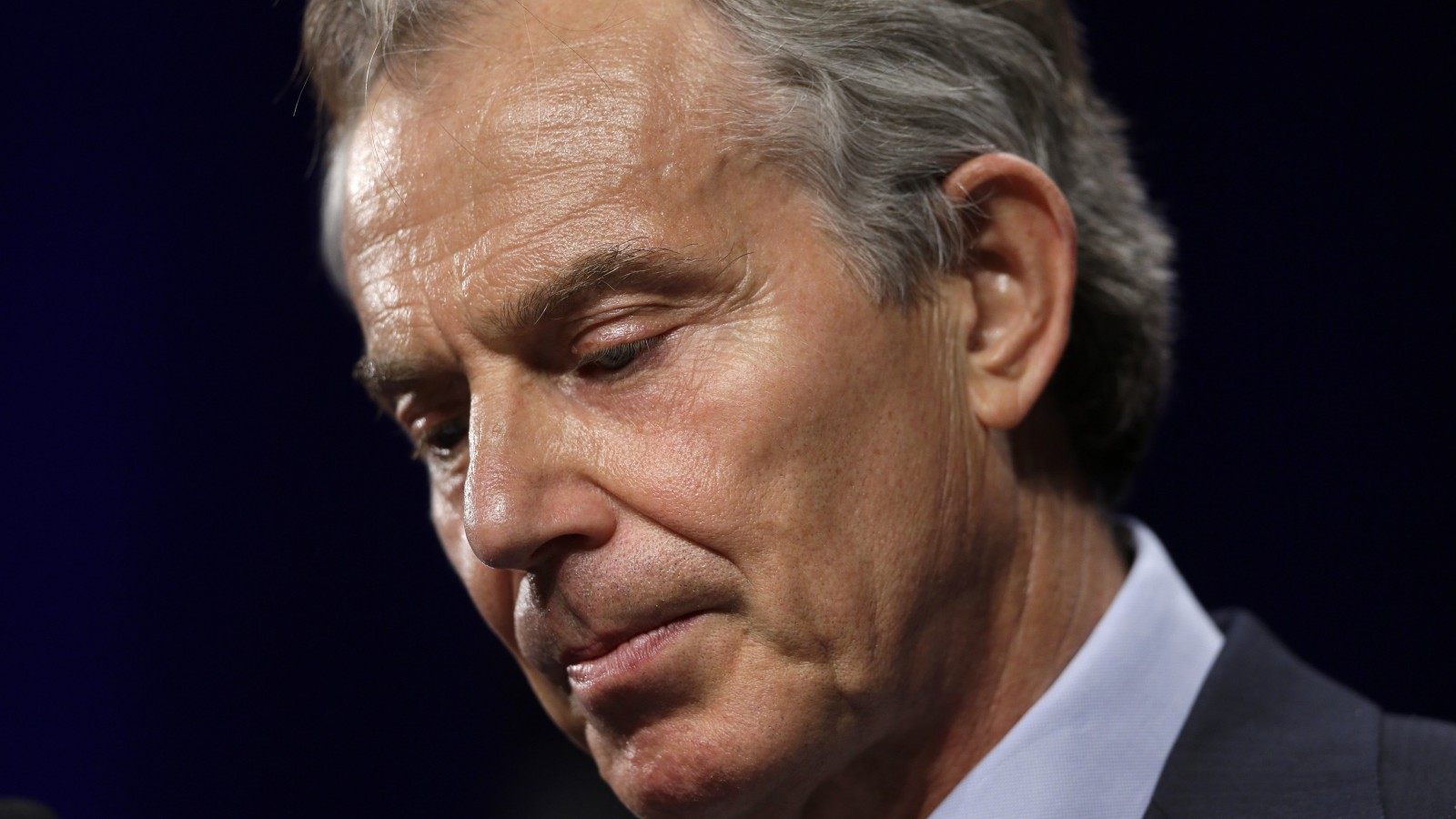 Former British Prime Minister Tony Blair pauses in his remarks about the late former British Prime Minister Margaret Thatcher at Lafayette College.