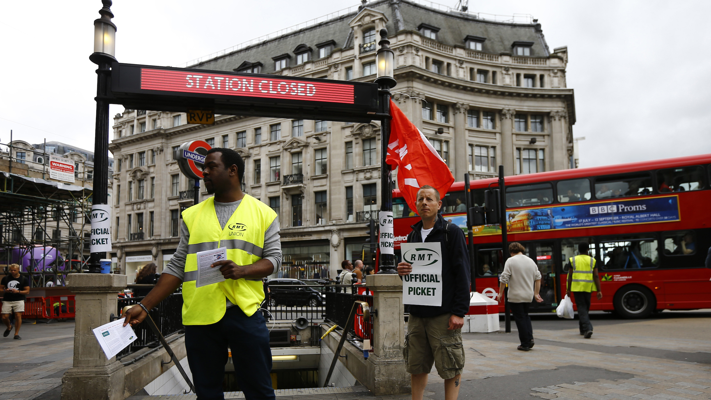 RMT members picket in London