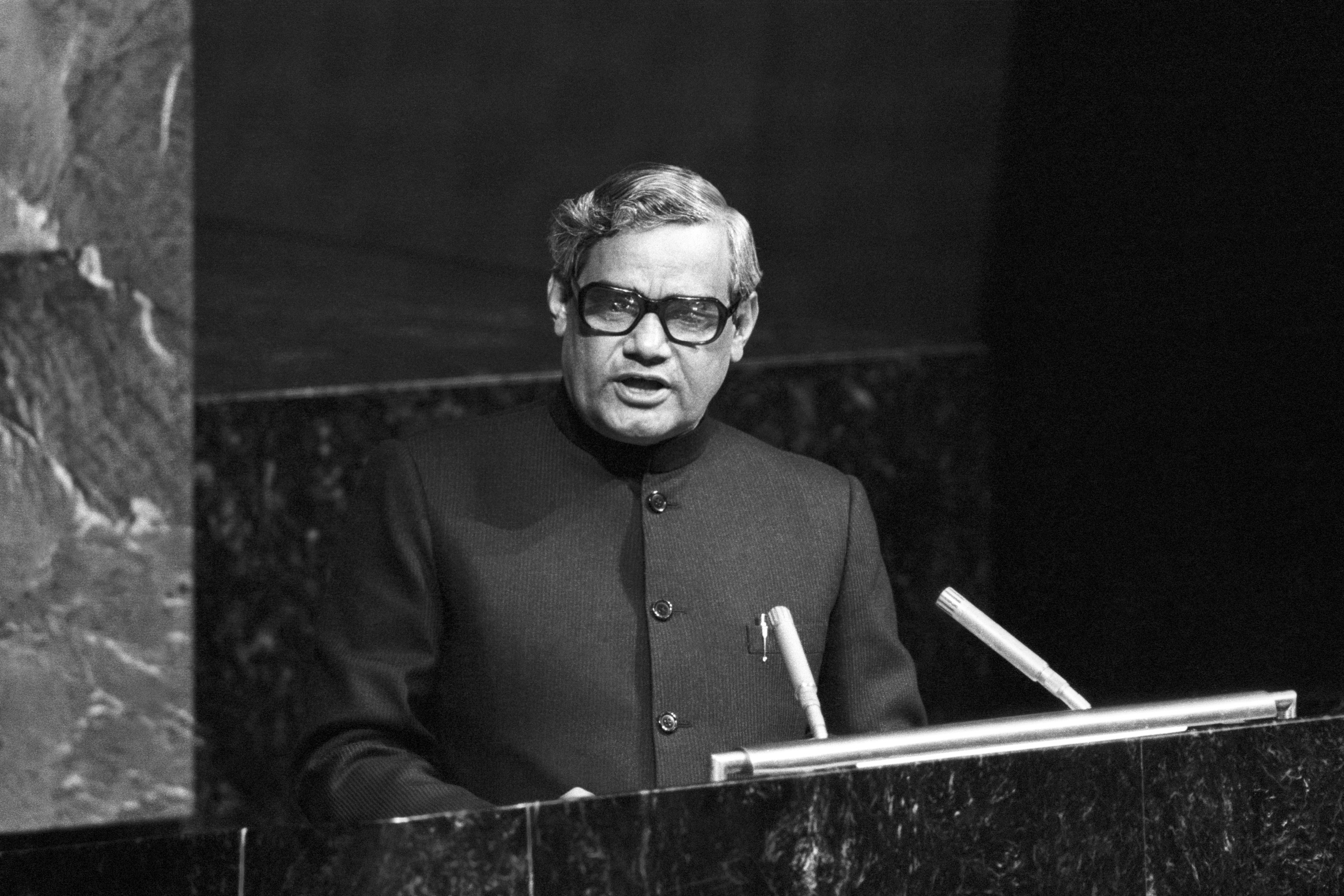 Atal Bihari Vajpayee, Minister for Foreign Affairs of India, is seen addressing the Assembly on 04 October 1977.
