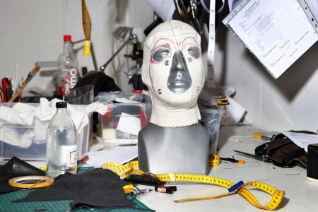 Mask on a mannequin head at Butcherei Lindinger