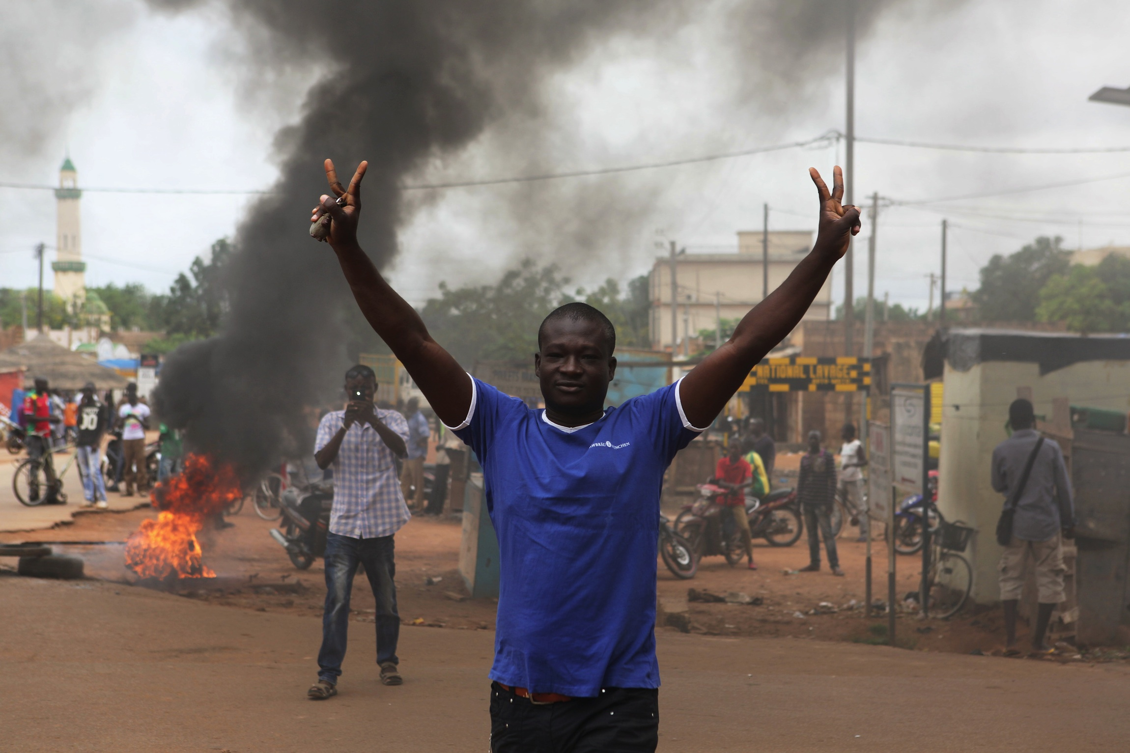 Protesters demonstrate against an ongoing military coup in Ouagadougou, Burkina Faso.