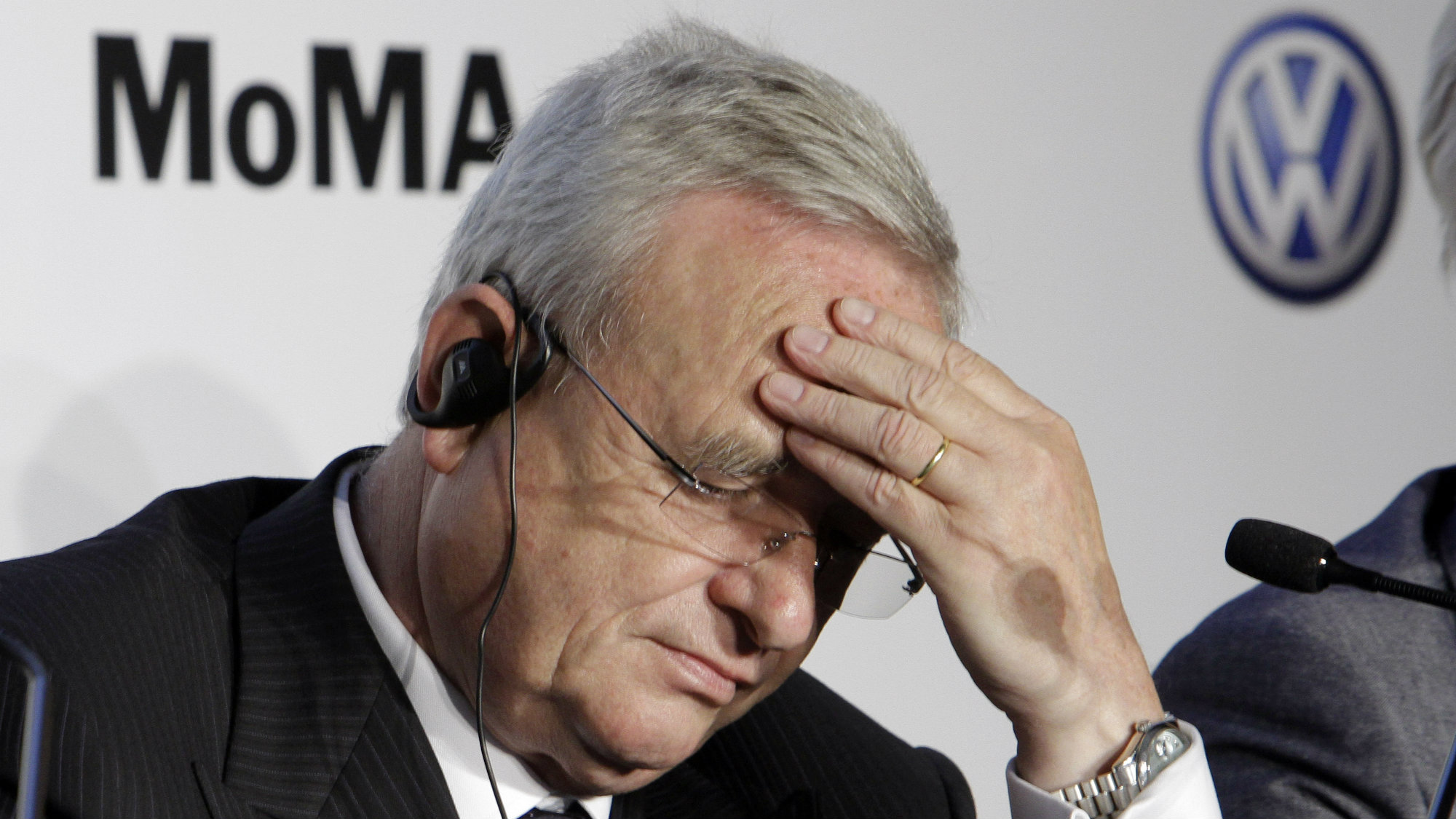 Martin Winterkorn, CEO of Volkswagen, participates in a news conference at New York's Museum of Modern Art.