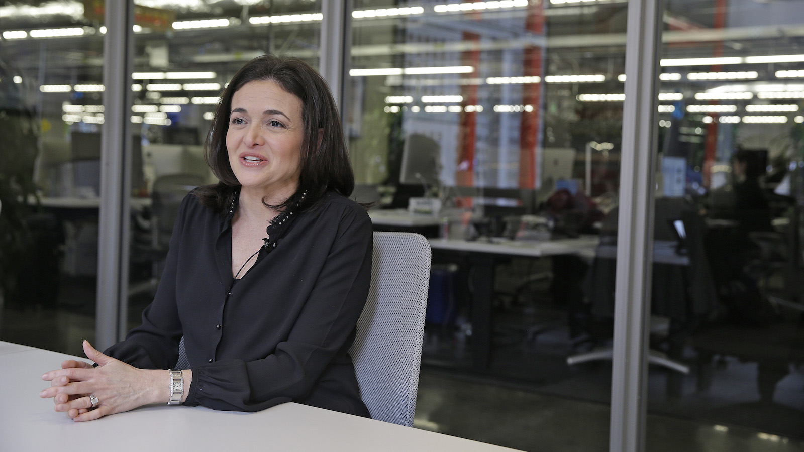 In this photo taken Tuesday Feb. 3, 2015, Facebook chief operating officer Sheryl Sandberg answers questions during an interview at Facebook headquarters in Menlo Park, Calif. A new Facebook and LinkedIn collaboration announced Friday, Feb. 6, 2015, seeks to boost the dwindling numbers of women studying engineering and computer science today, a field booming with lucrative Silicon Valley jobs long dominated by men.