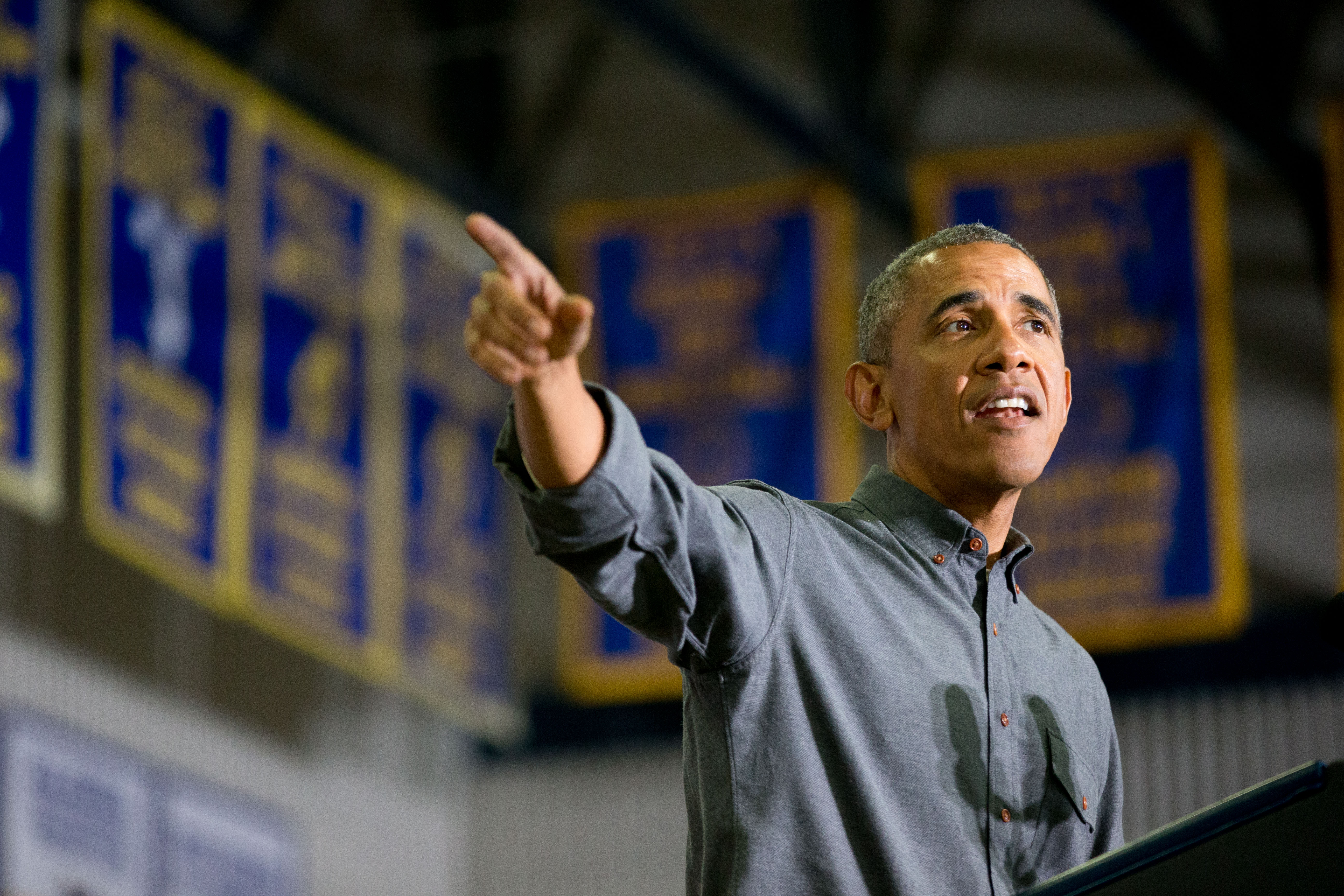 President Barack Obama delivers remarks at Kotzebue School, Wednesday, Sept. 2, 2015, in Kotzebue, Alaska. Obama is on a historic three-day trip to Alaska aimed at showing solidarity with a state often overlooked by Washington, while using its glorious but changing landscape as an urgent call to action on climate change. (AP Photo/Andrew Harnik)