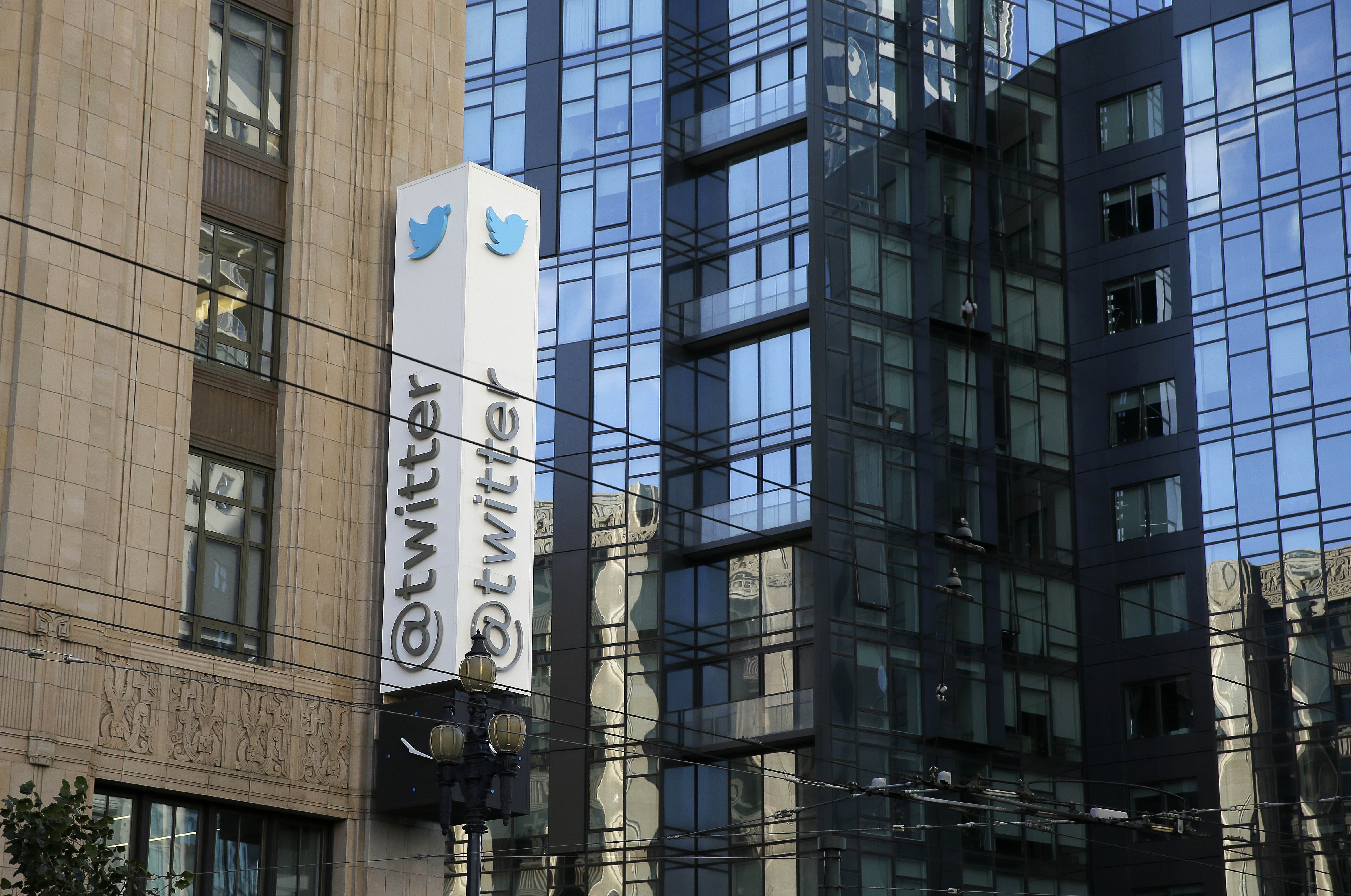 In this photo taken Tuesday, Dec. 16, 2014, is the headquarters of Twitter in San Francisco. (AP Photo/Eric Risberg)