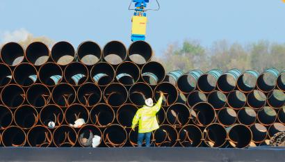 Pipes for the proposed Dakota Access oil pipeline, that would stretch from the Bakken oil fields in North Dakota to Patoka, Ill., are stacked Saturday, May 9, 2015.