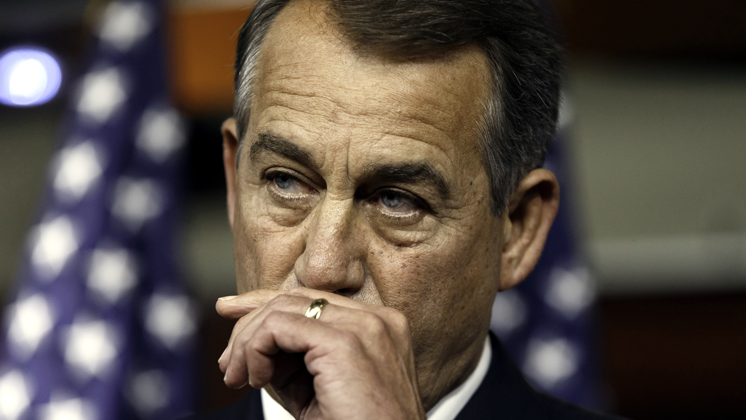 House Speaker John Boehner of Ohio, reflects on the stunning primary defeat of House Majority Leader Eric Cantor of Va., Thursday, June 12, 2014, during a news conference on Capitol Hill in Washington. Cantor announced Wednesday that he will resign his leadership post at the end of next month, clearing the way for a potentially disruptive Republican shake-up just before midterm elections with control of Congress at stake. Boehner told reporters he's declining to take sides in the contest to replace Cantor as House majority leader.