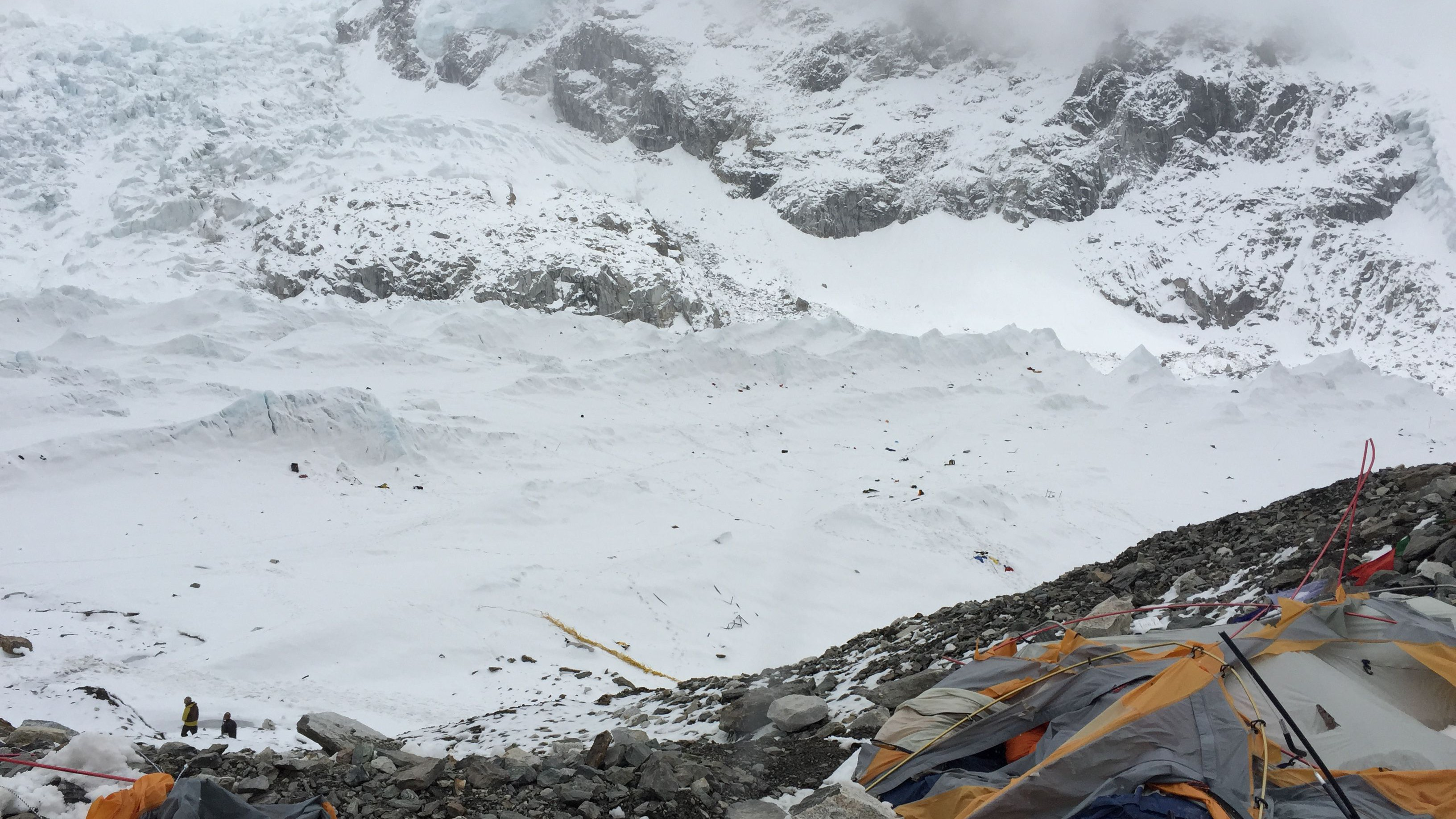 The wind from the avalanche blew debris onto the far reaches of the Khumbu glacier