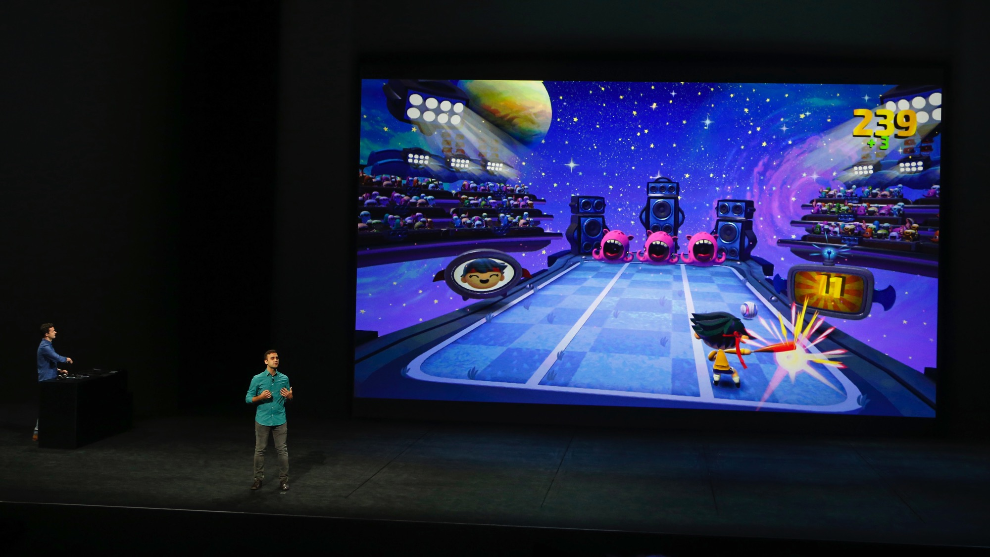 John Carter of Harmonix discusses his company's game Beat Sports for Apple TV during an Apple media event in San Francisco, California