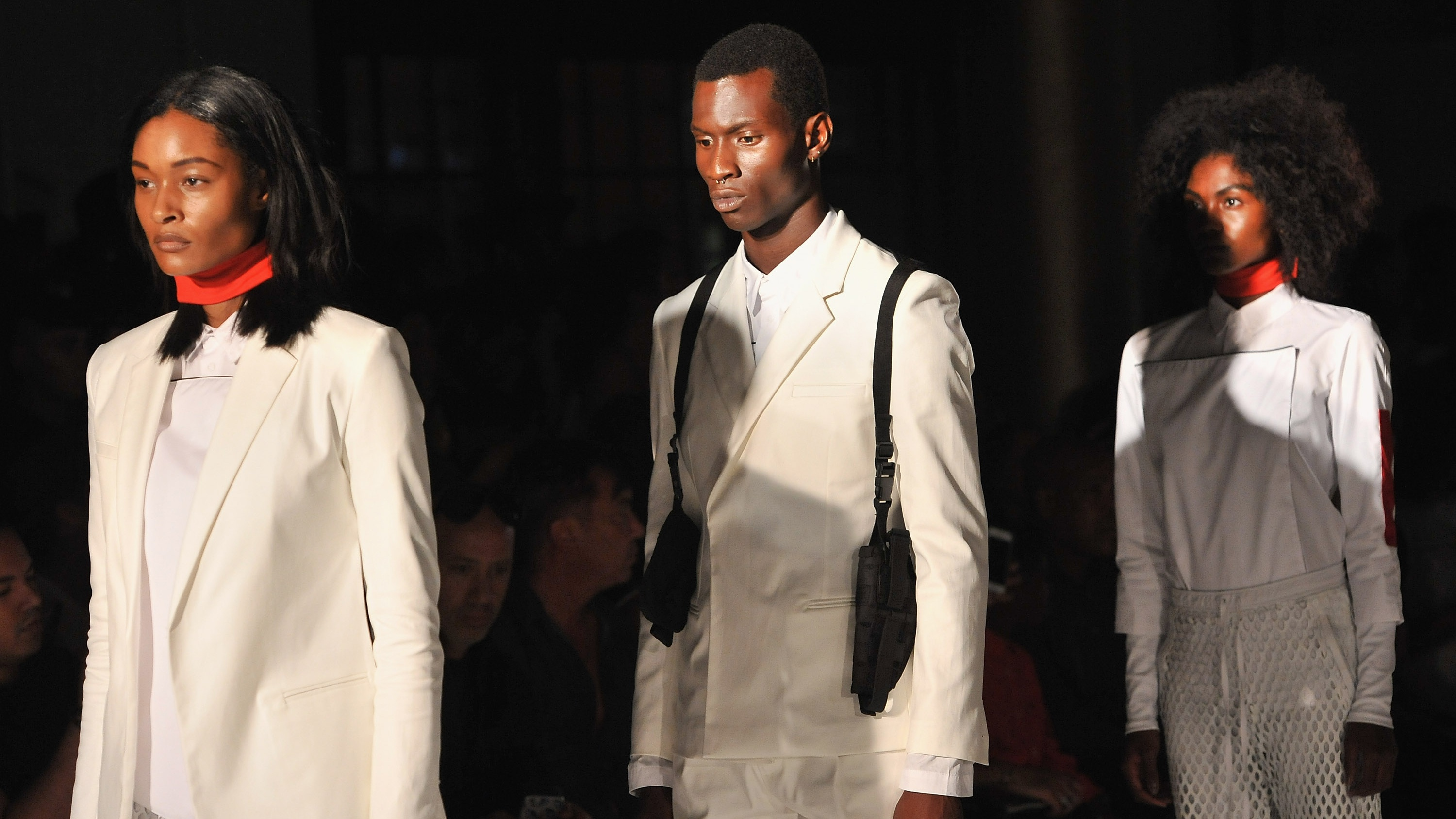 Models walk down the runway during the Pyer Moss fashion show during Spring 2016 New York Fashion Week at the Altman Building on September 10, 2015 in New York City.