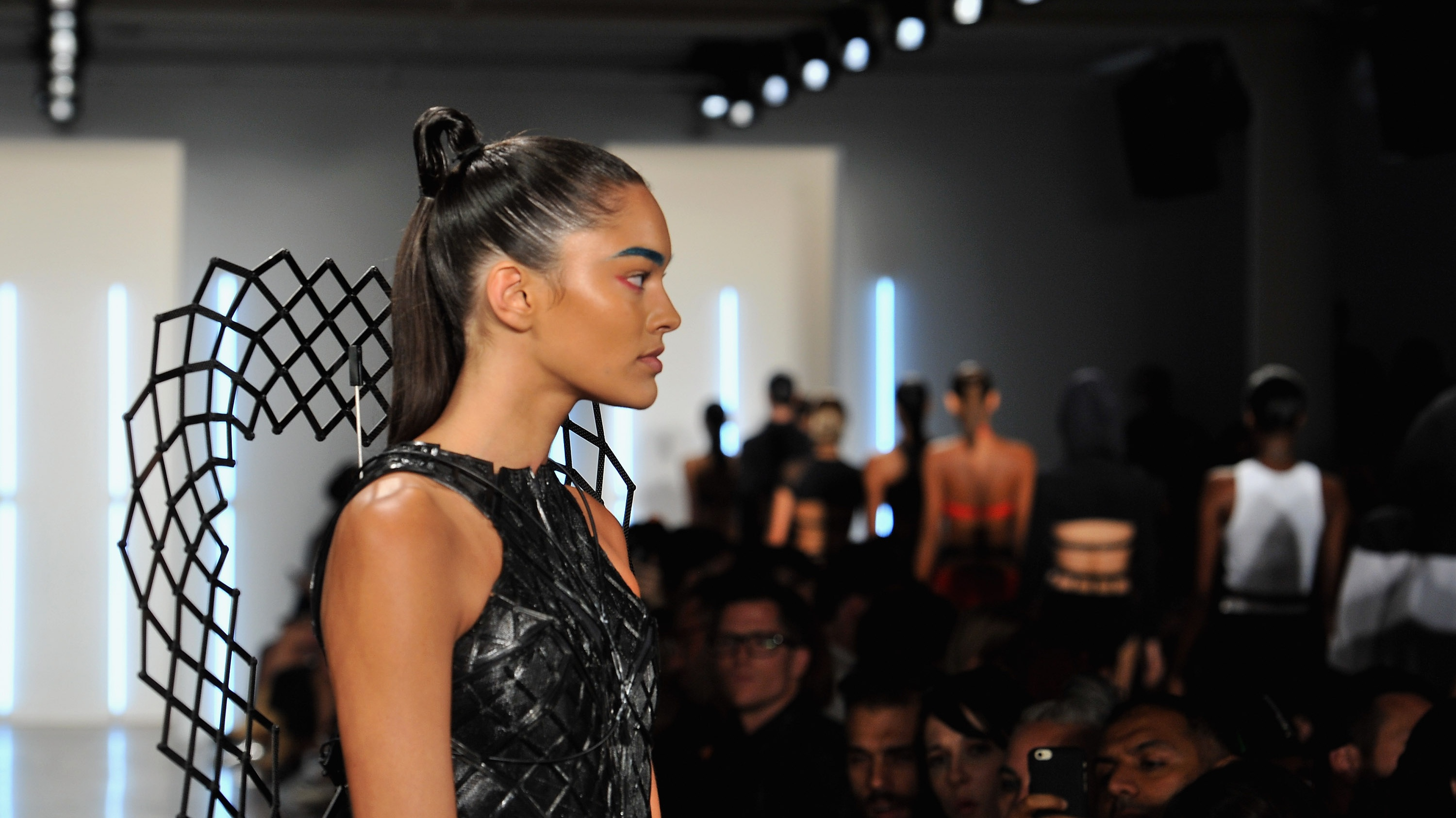Models walk down the runway during the Chromat fashion show during Spring 2016 New York Fashion Week at Milk Studios on September 11, 2015 in New York City.