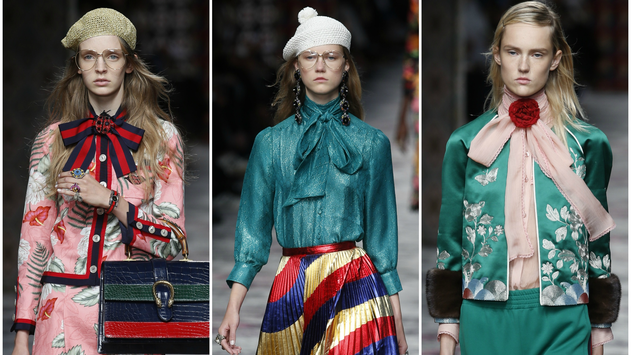 Models wear creations for Gucci women's Spring-Summer 2016 collection, part of the Milan Fashion Week, unveiled in Milan, Italy, Wednesday, Sept. 23, 2015.