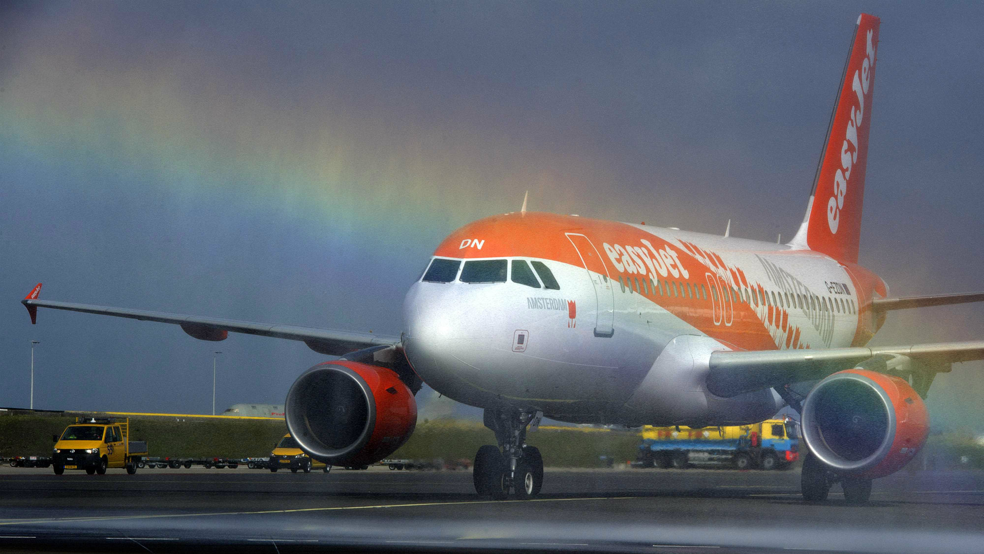 An easyJet aircraft especially decorated in Dutch colors and sesign is presented at Schiphol Airport, the Netherlands.