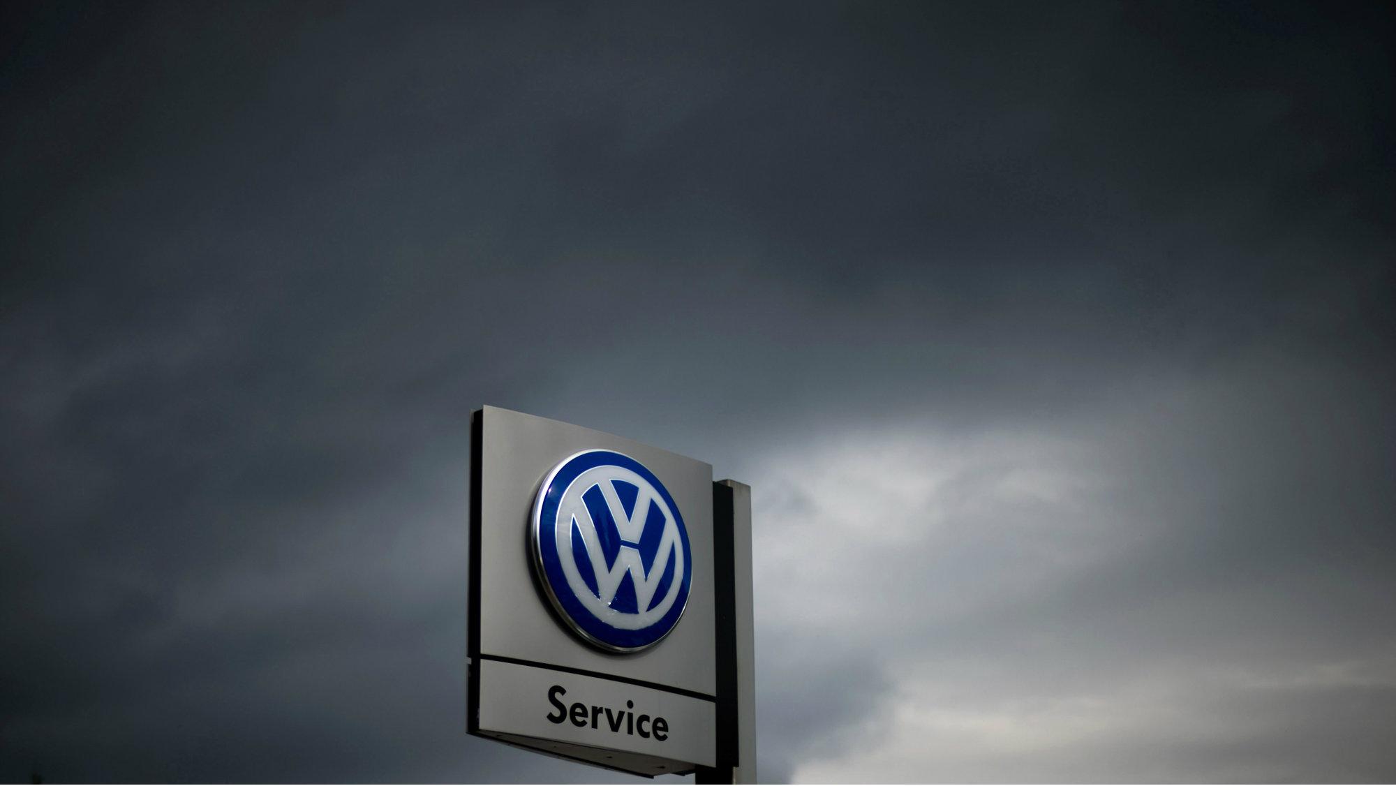 The logo of German car manufacturer Volkswagen in front of a Volkswagen retailer in Hanover, Germany.