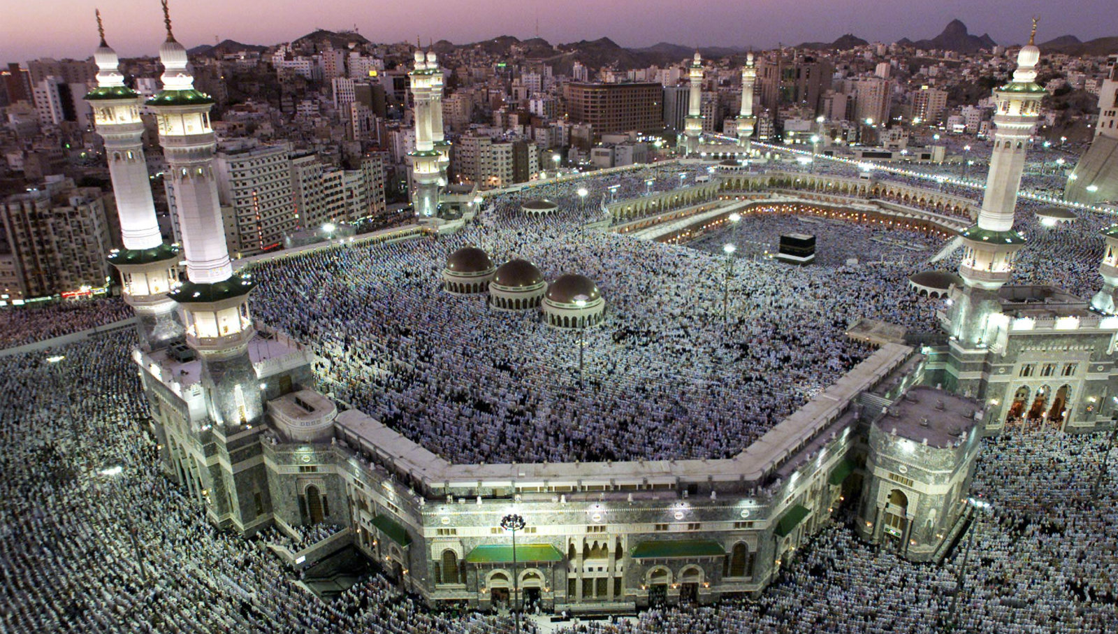 A view of Haram, where the Kaaba is located, in the holy city of Mecca, during sunset February 18, 2002 as about two million Muslim pilgrims gather for their Haj pilgrimage. The Haj is one of a Muslim's duties, as described in the five pillars of Islam, to go on a Haj at least once during his or her lifetime, if affordable.