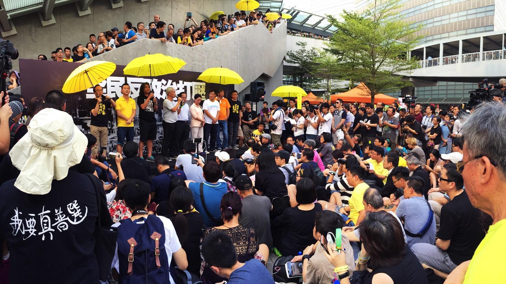 hong kong umbrella movement one year anniversary stage