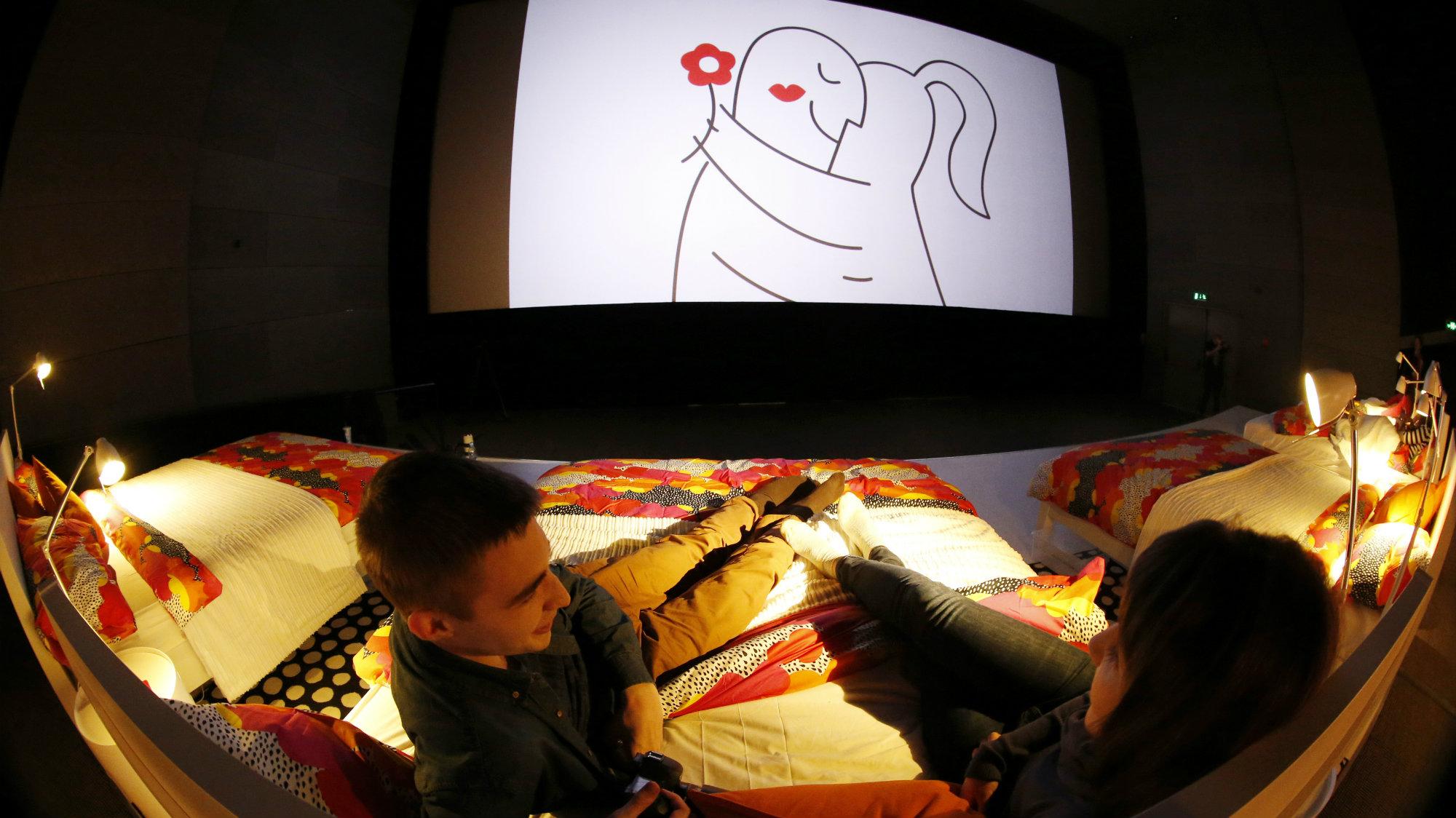 Spectators await the start of an Ikea-sponsored cinema screening at a Kinostar De Lux Multiplex in a Moscow suburb.