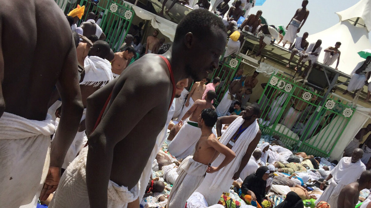 during the annual hajj pilgrimage on Thursday, Sept. 24, 2015. Hundreds were killed and injured, Saudi authorities said. The crush happened in Mina, a large valley about five kilometers (three miles) from the holy city of Mecca that has been the site of hajj stampedes in years past. (AP Photo)
