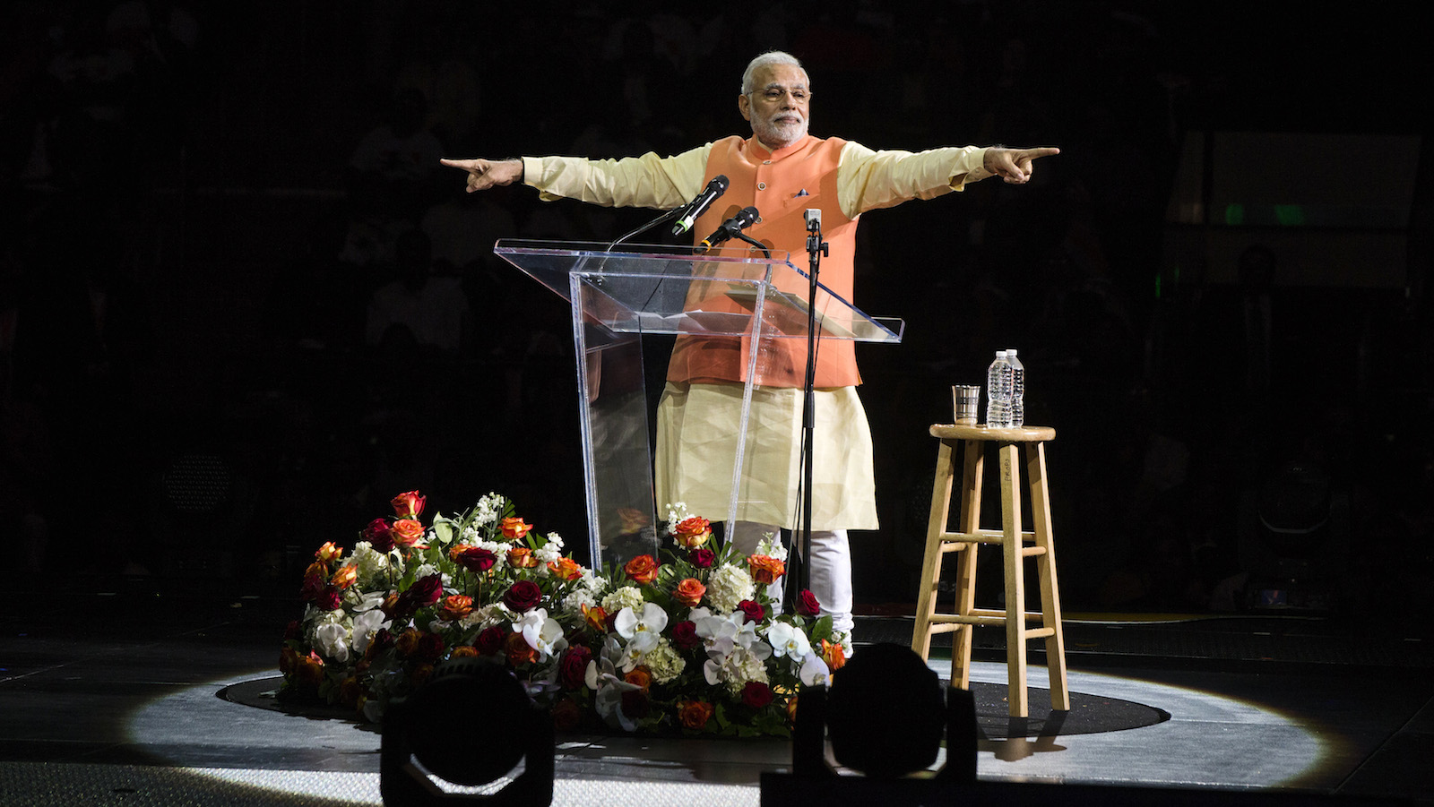 India's Prime Minister Narendra Modi gestures while speaking at Madison Square Garden in New York.