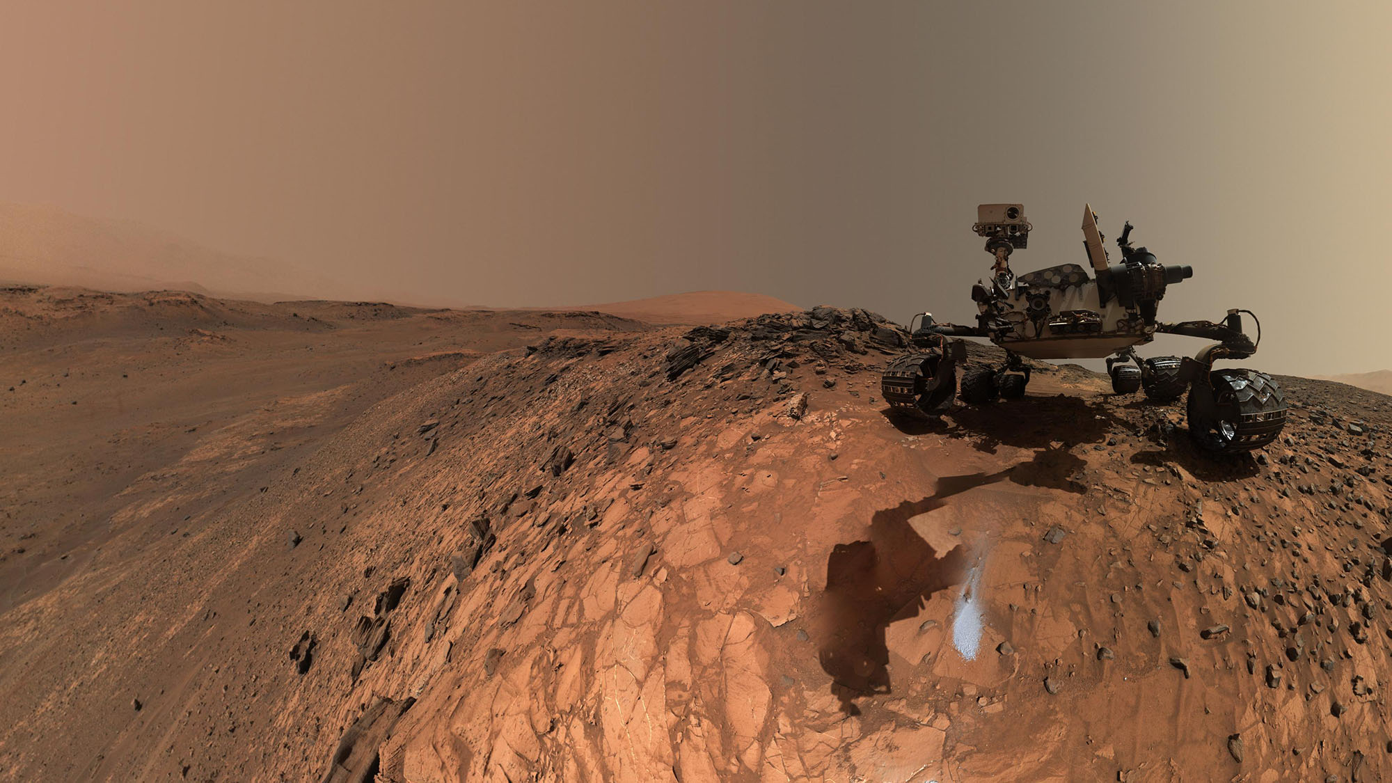 "This low-angle self-portrait of NASA's Curiosity Mars rover shows the vehicle above the ""Buckskin"" rock target, where the mission collected its seventh drilled sample. The site is in the ""Marias Pass"" area of lower Mount Sharp."