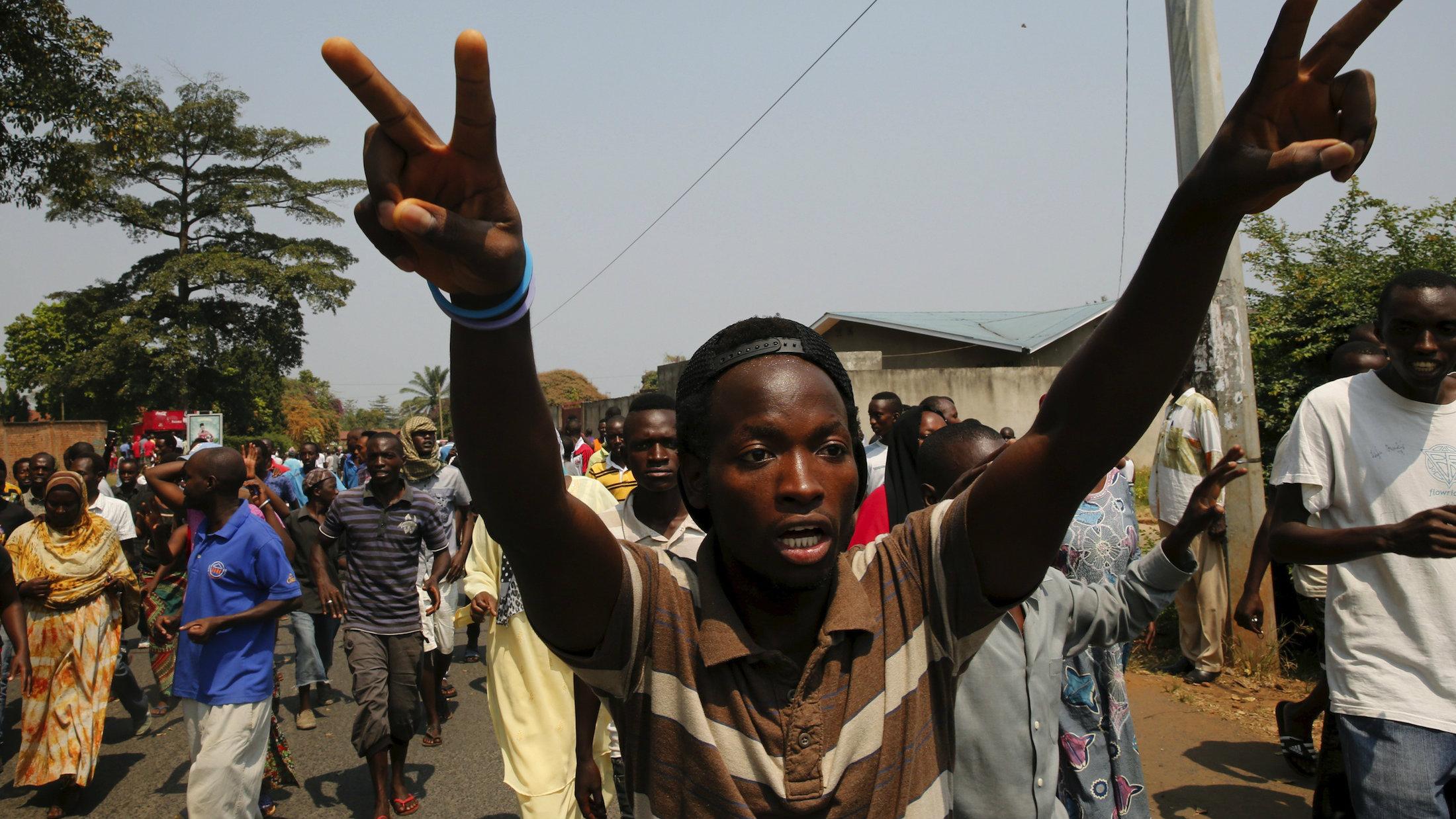 Protestors in Bujumbura's Niyakabiga district on election day in July.
