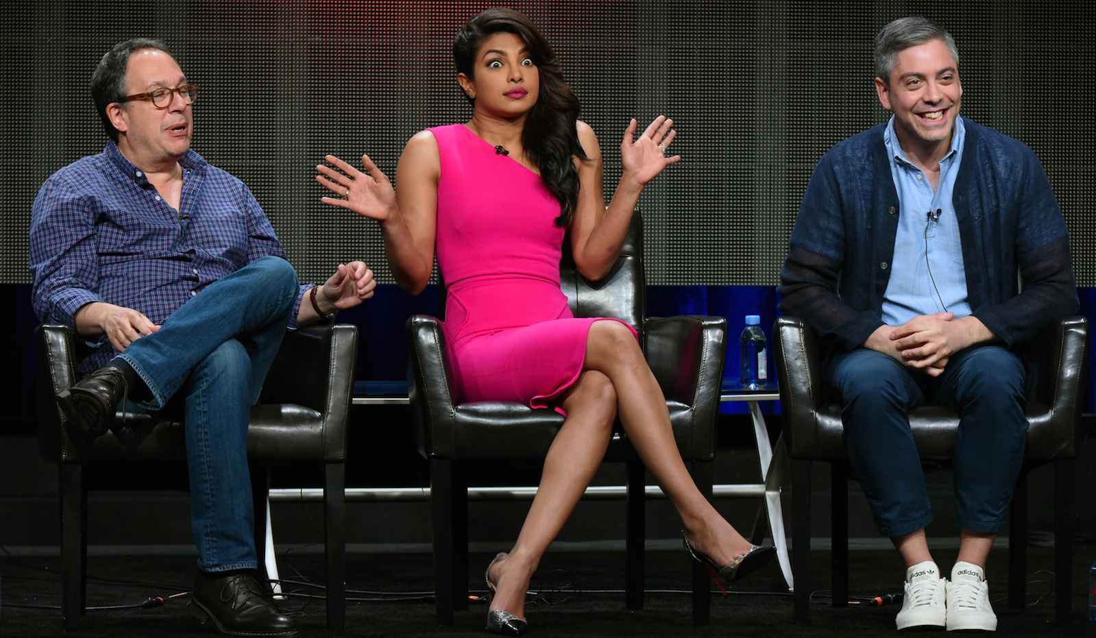 "Executive producer Mark Gordon, from left, actress Priyanka Chopra, and writer/executive producer Joshua Safran appear during the ""Quantico"" panel at the Disney/ABC Summer TCA Tour at the Beverly Hilton Hotel on Tuesday, Aug. 4, 2015 in Beverly Hills, Calif."