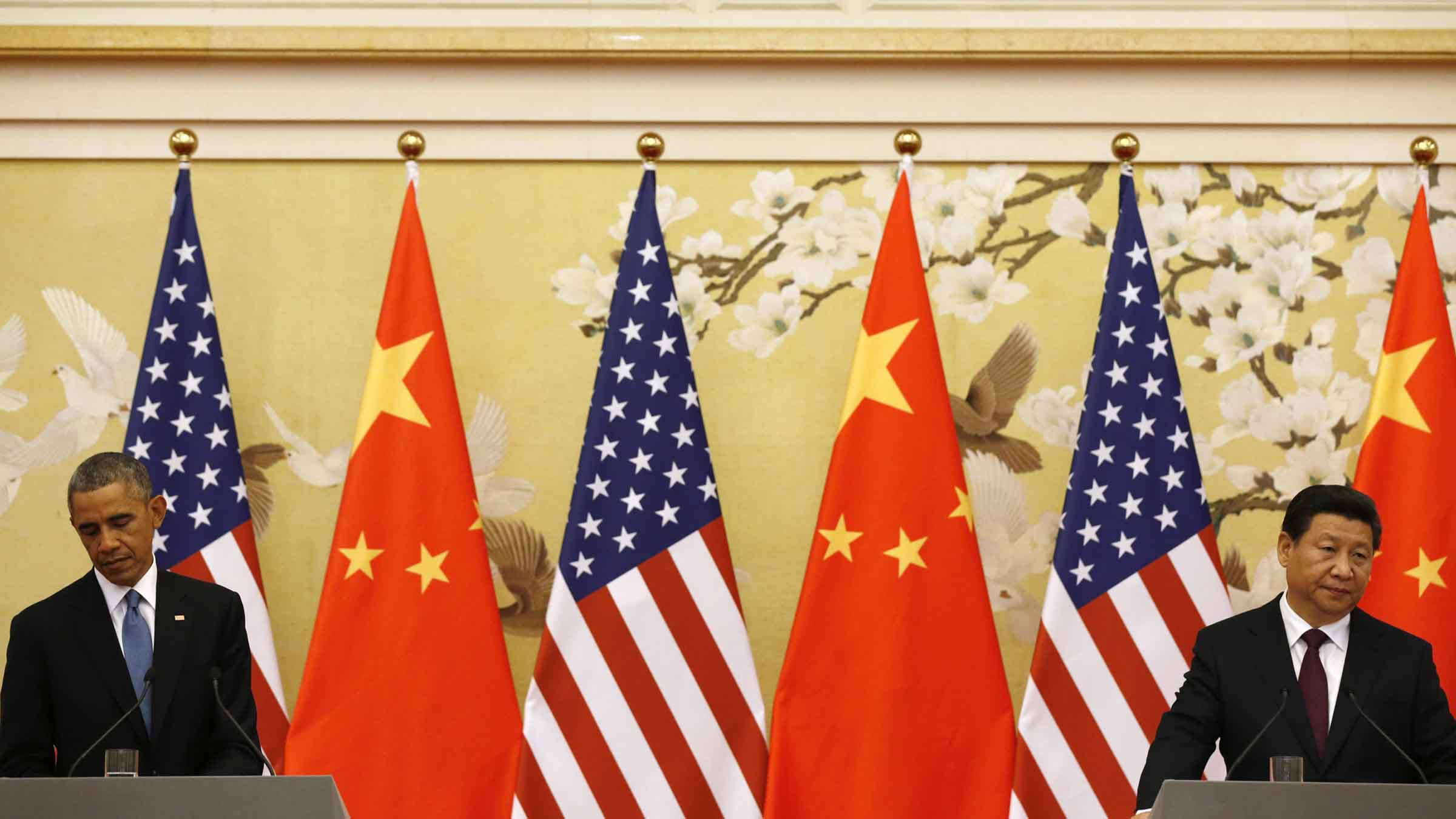 Obama and Xi hold a news conference the Great Hall of the People in Beijing