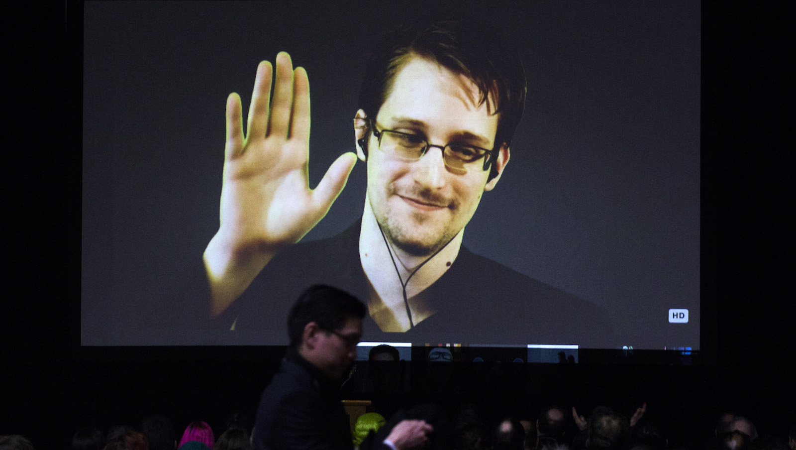 Former U.S. National Security Agency contractor Edward Snowden appears live via video during a student organized world affairs conference at the Upper Canada College private high school in Toronto, February 2, 2015.    REUTERS/Mark Blinch (CANADA - Tags: POLITICS SCIENCE TECHNOLOGY MEDIA EDUCATION) - RTR4NZE6