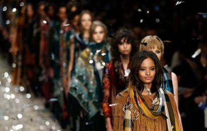 Models present creations from the Burberry Prorsum Autumn/Winter 2015 collection during London Fashion Week February 23, 2015.