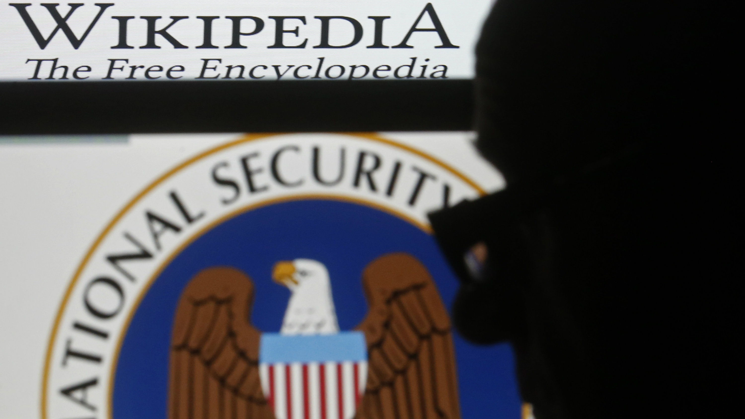 A man is silhouetted near logos of the U.S. National Security Agency (NSA) and Wikipedia in this photo illustration taken in Sarajevo March 11, 2015.