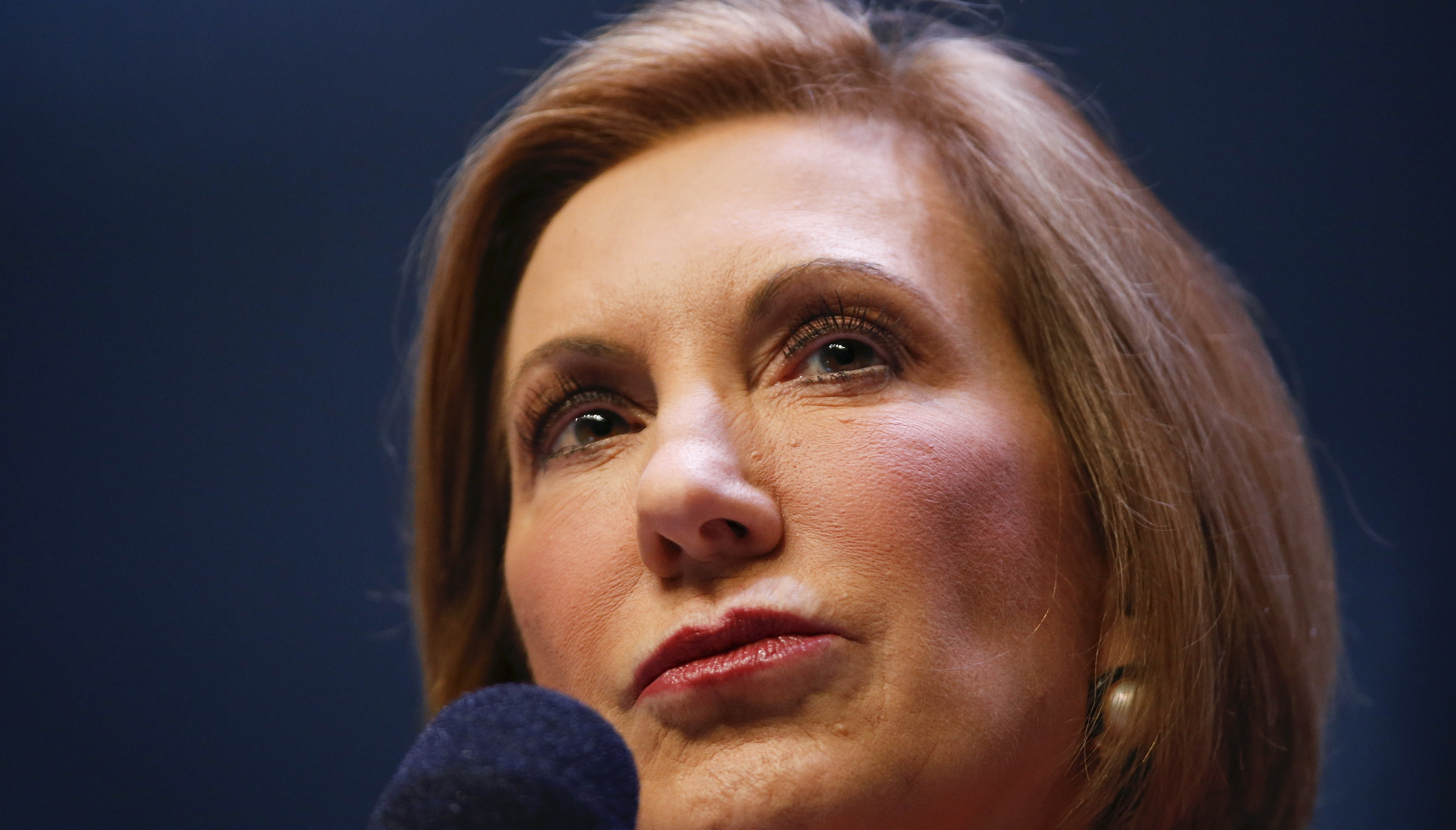 U.S. Republican presidential candidate Fiorina speaks during the Heritage Action for America presidential candidate forum in Greenville