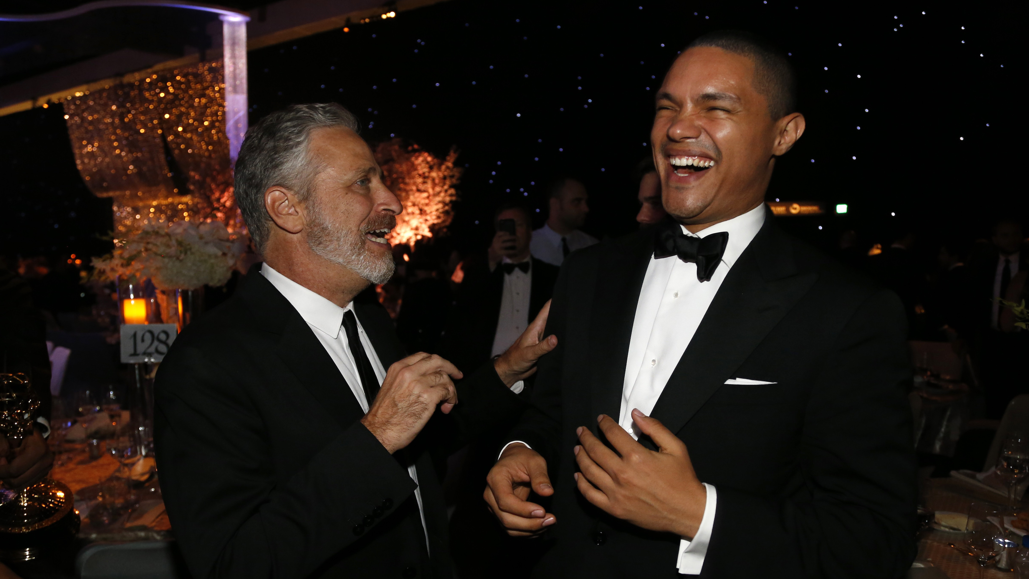 Television personality Stewart talks with Noah at the 67th Annual Primetime Emmy Awards Governors Ball in Los Angeles