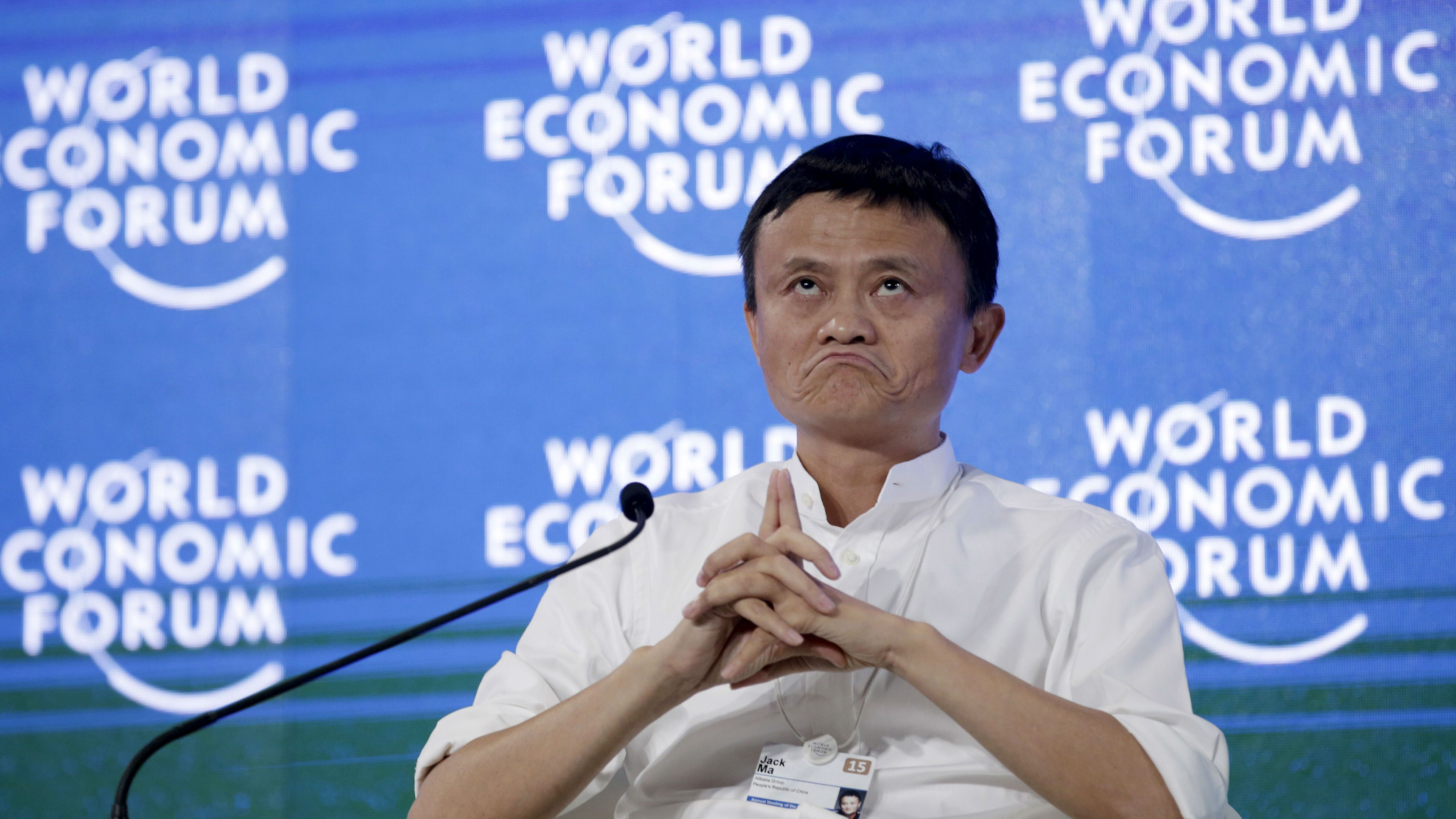 "Chairman and chief executive of Alibaba Group, Jack Ma attends a session of ""Future-Proofing the Internet Economy"" at the World Economic Forum (WEF) in China's port city Dalian, September 9, 2015. China's economy still faces relatively large downward pressure, the head of the country's top economic planner said on Wednesday. ""The largest problem facing the Chinese economy now is industrial overcapacity,"" Xu Shaoshi, chairman of the National Development and Reform Commission (NDRC), said at the World Economic Forum (WEF), the Swiss-based corporate think tank which runs the Davos summit of world leaders. REUTERS/Jason Lee TPX IMAGES OF THE DAY"