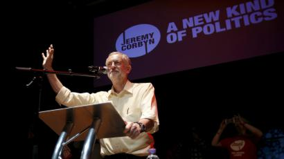 Jeremy Corbyn at a Labour party rally